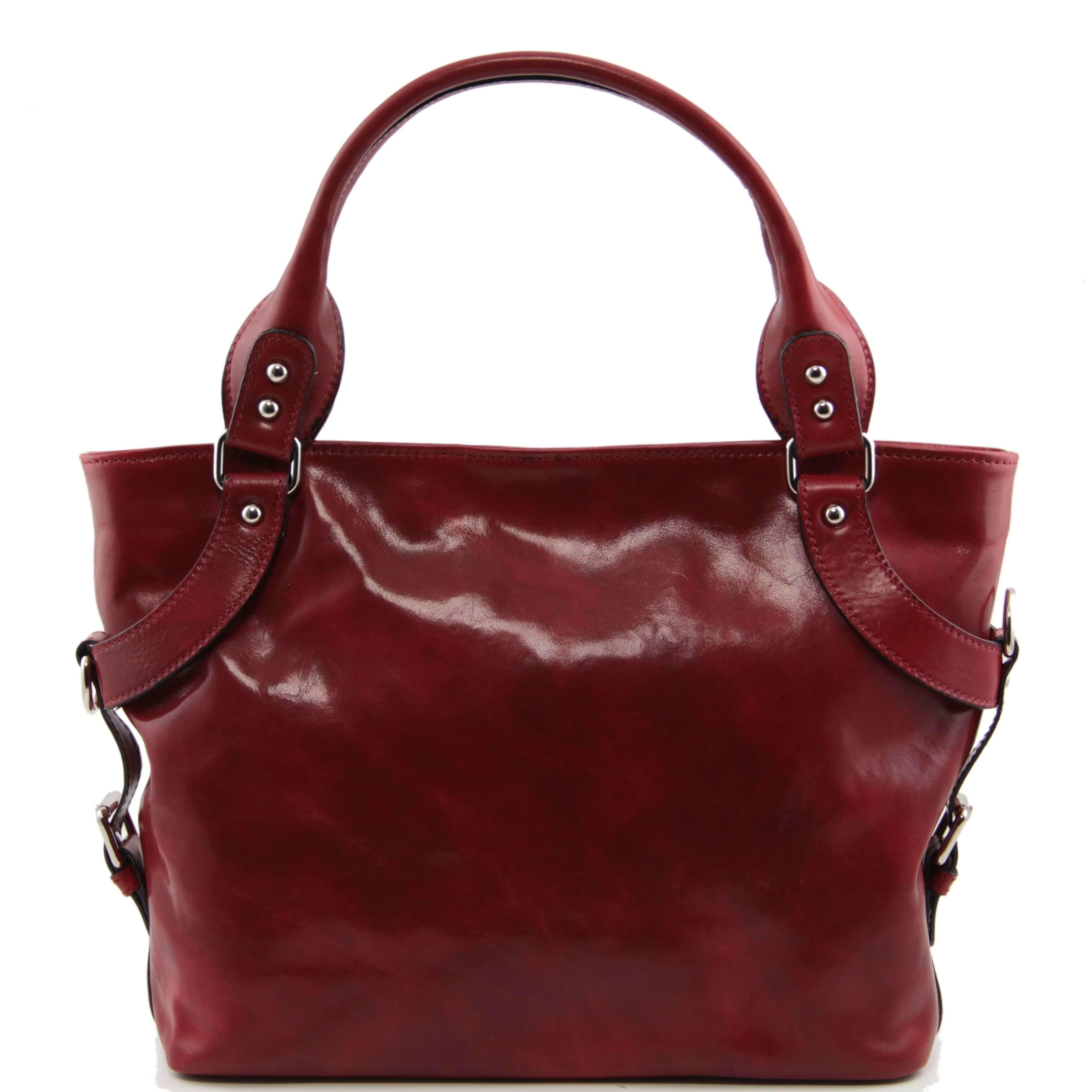 TL140899 Ladies - Womans Ilenia Leather Hand-Shoulder-Tote-Bag & Shoulder Strap - Red