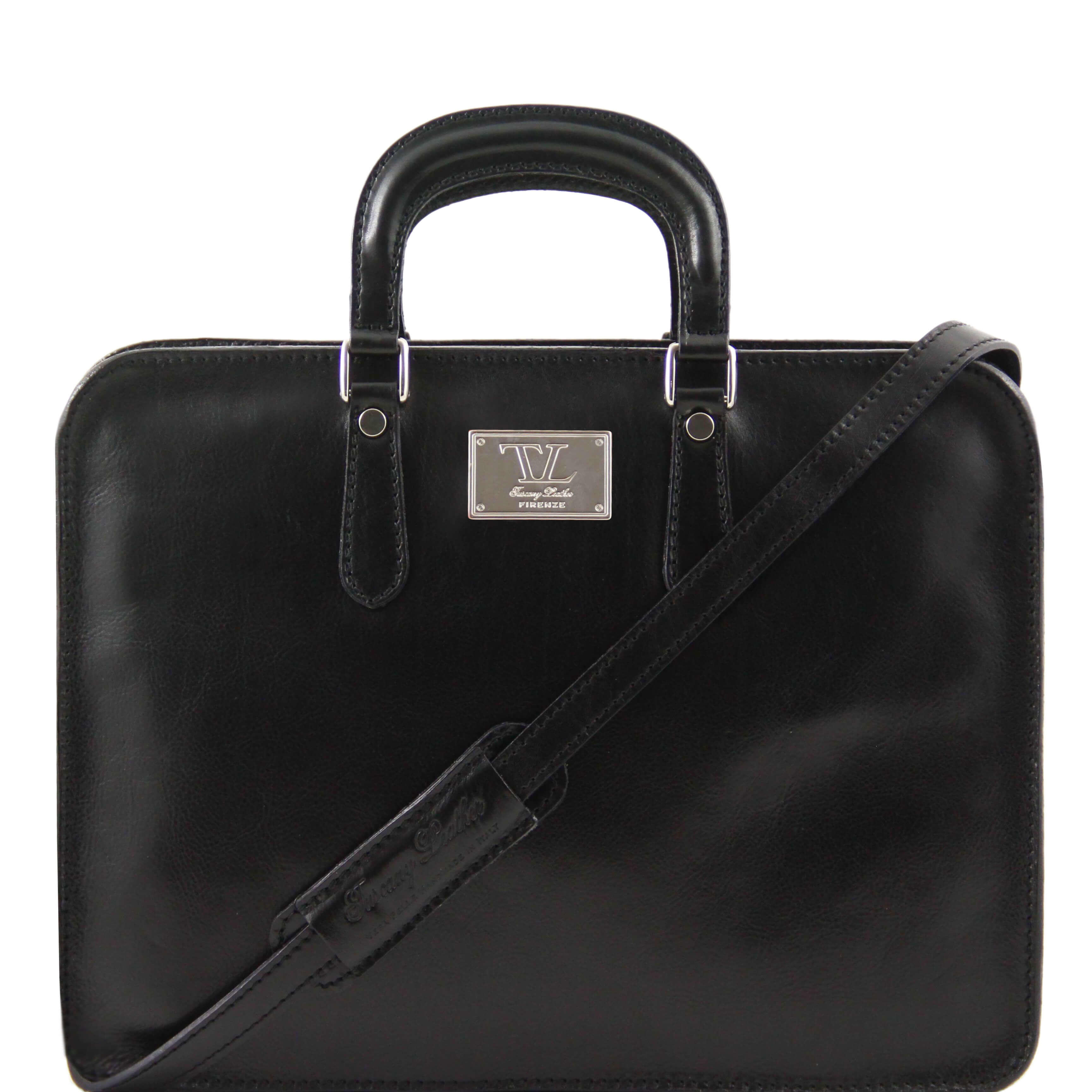 TL140961 Alba Ladies Leather 1 Compartment Briefcase-Folio-Shoulder Bag-Holdall Black