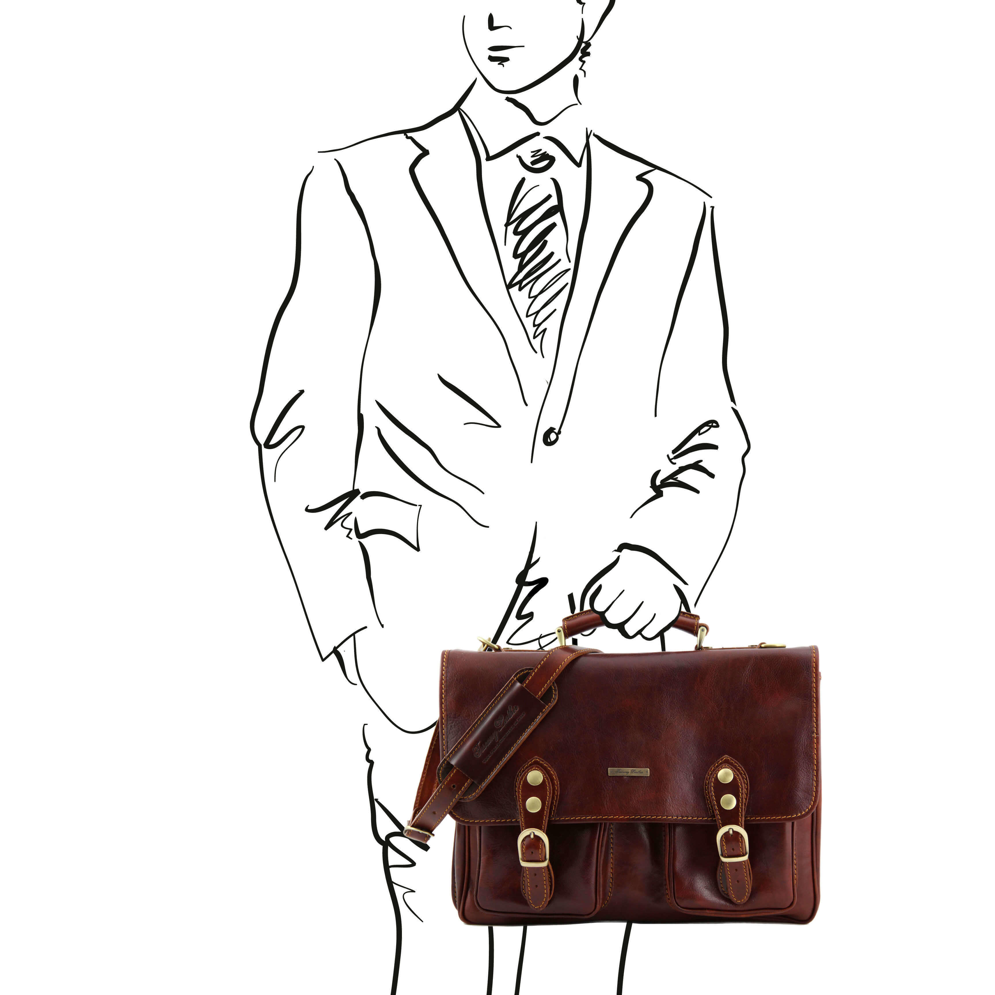 TL141134 Leather Modena Satchel-Messenger-Briefcase-Work-Bag & S