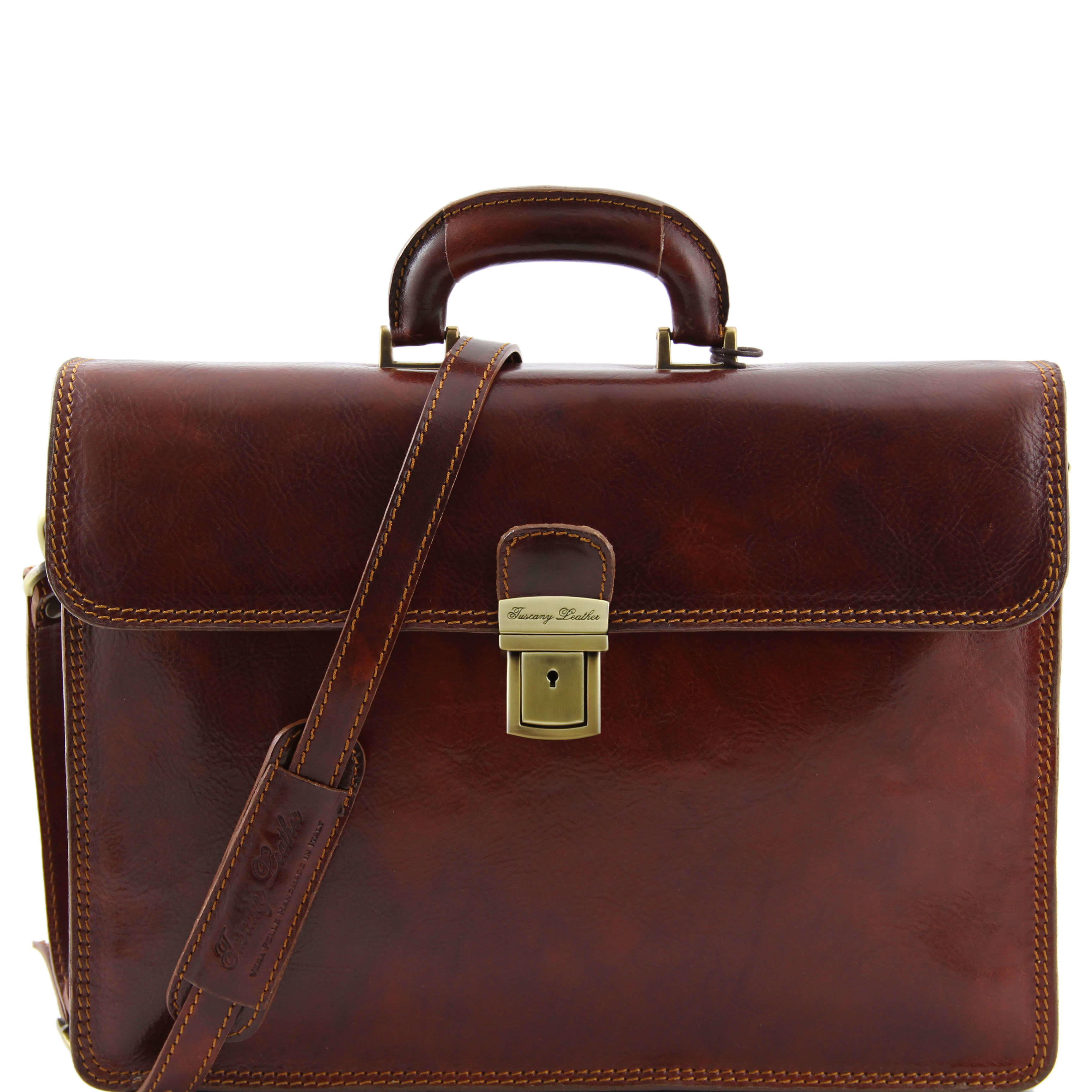 "TL10018 Parma Two Compartments Leather 15""Laptop-Briefcase-Bag & Shoulder Strap Brown"