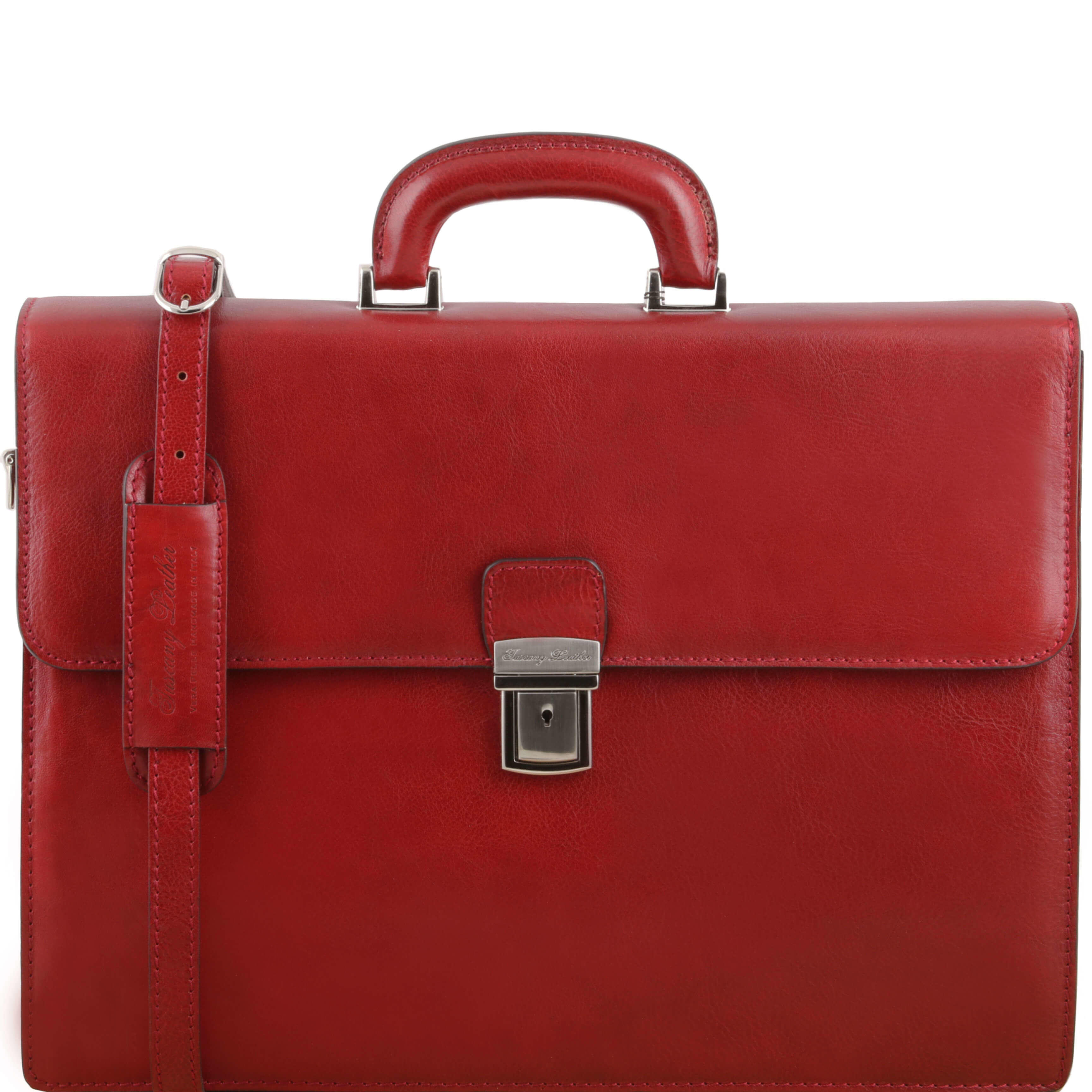 "TL141350 NEW Parma 2 Compartments Leather 15""Laptop-Briefcase-Bag & Shoulder Strap Red"