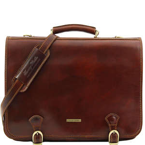 "TL10025 Large Size Ancona Leather 17"" Laptop Bag-Messenger-Satch"