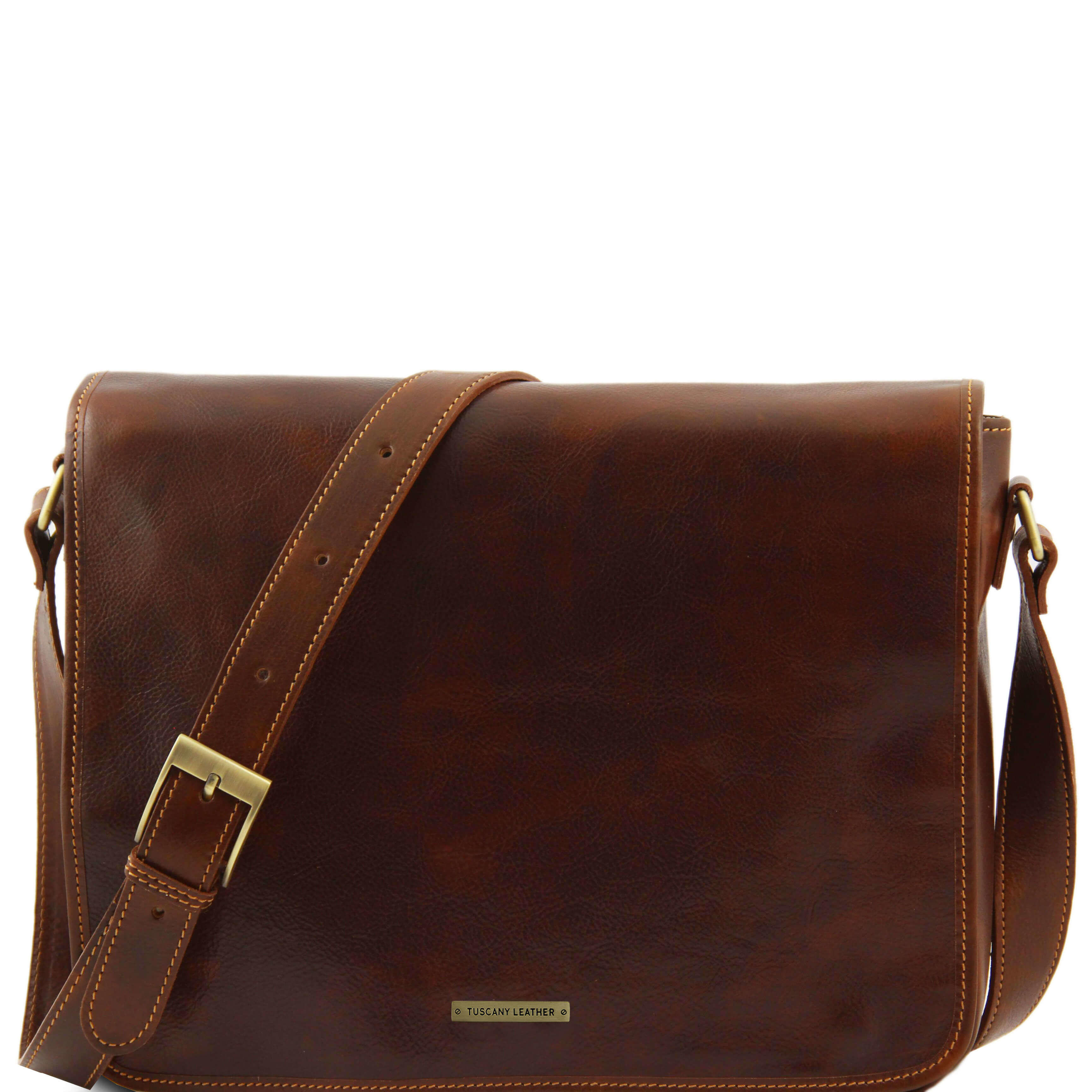 "TL90475 Leather Double Messenger-15"" Laptop-Cross Body-Bag-Case"