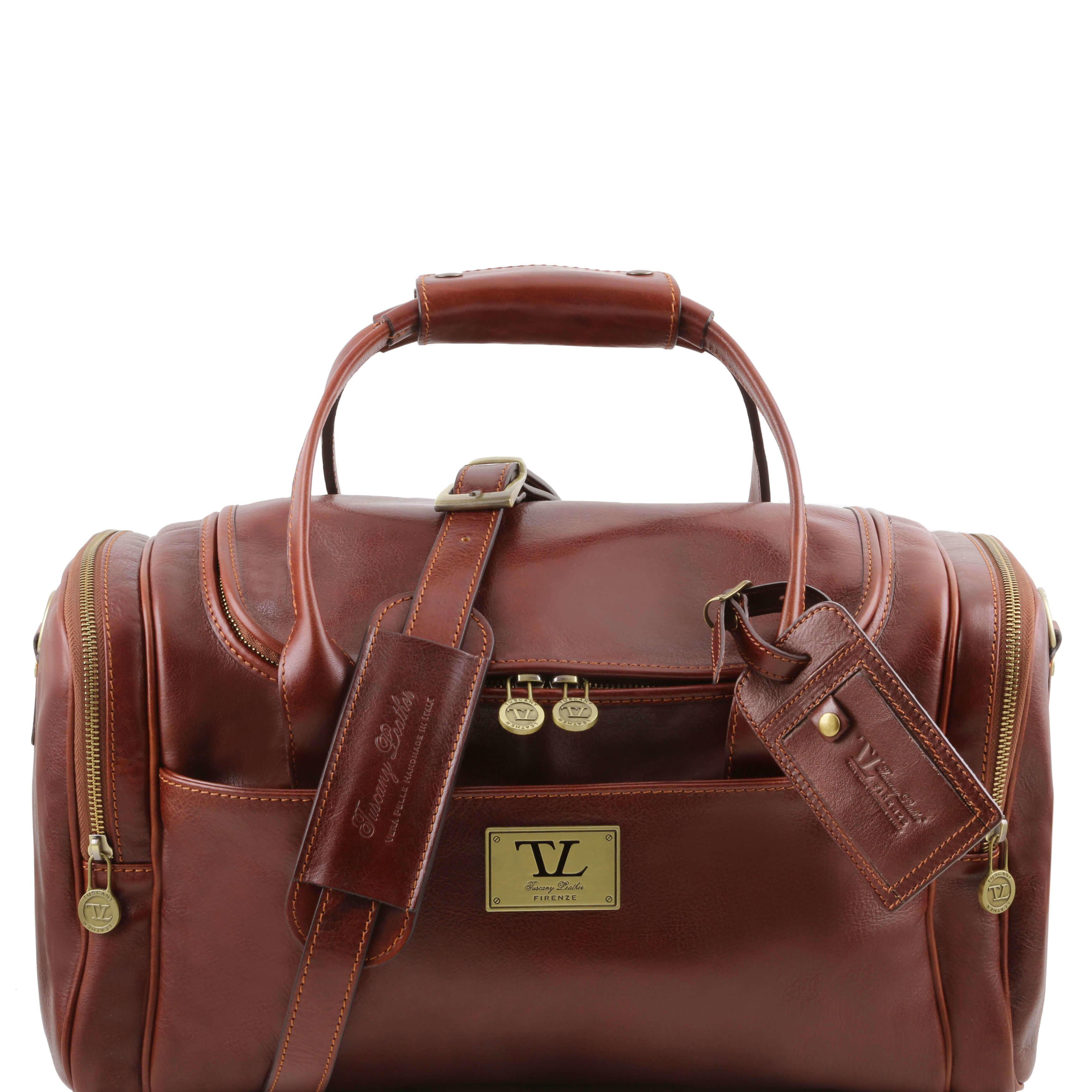 TL141441 Voyager Leather Travel-Weekender-Duffel-Bag-Case&Shoulder  Strap in Brown