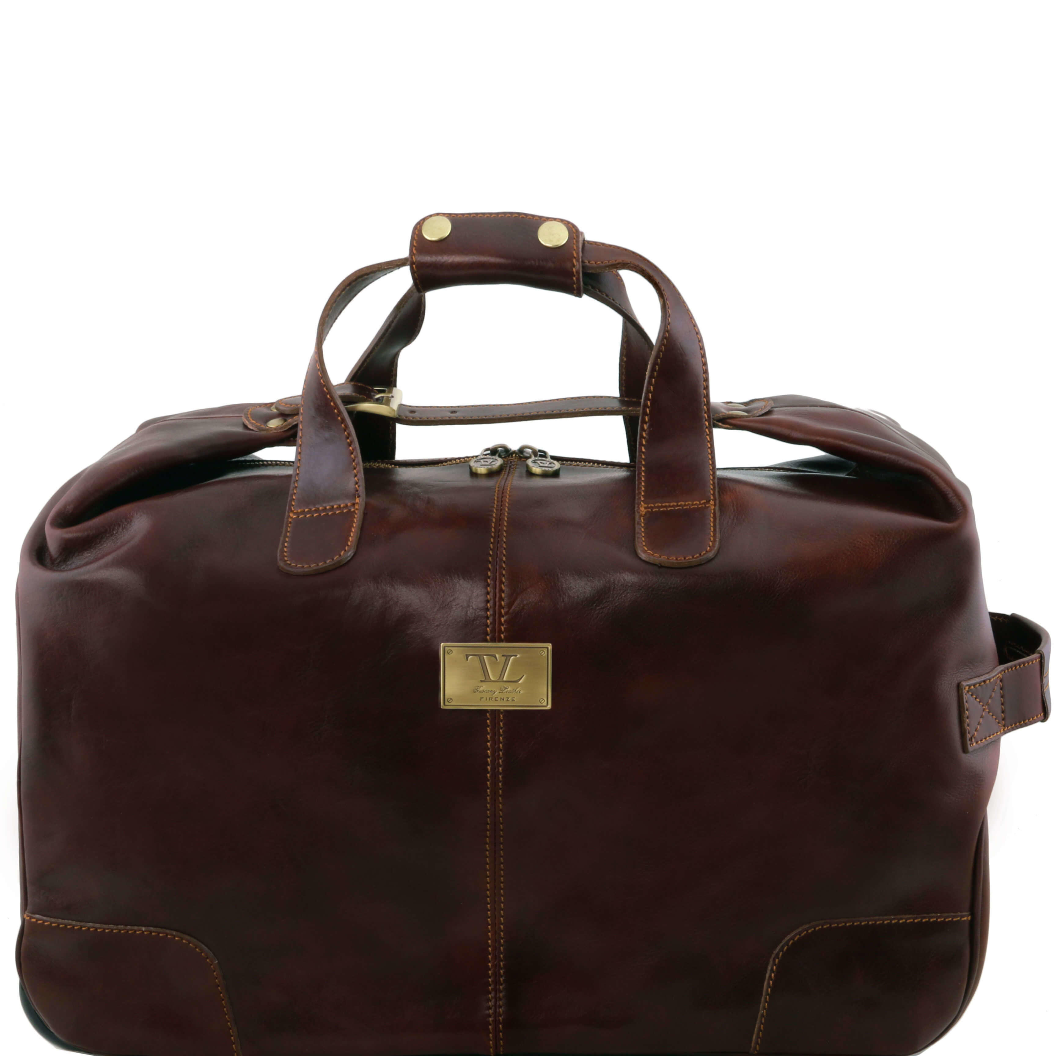 Tuscany Leather Barbados Trolley - Wheeled-Lugguage-Travel-Bag-Holdall-Case - Dark Brown