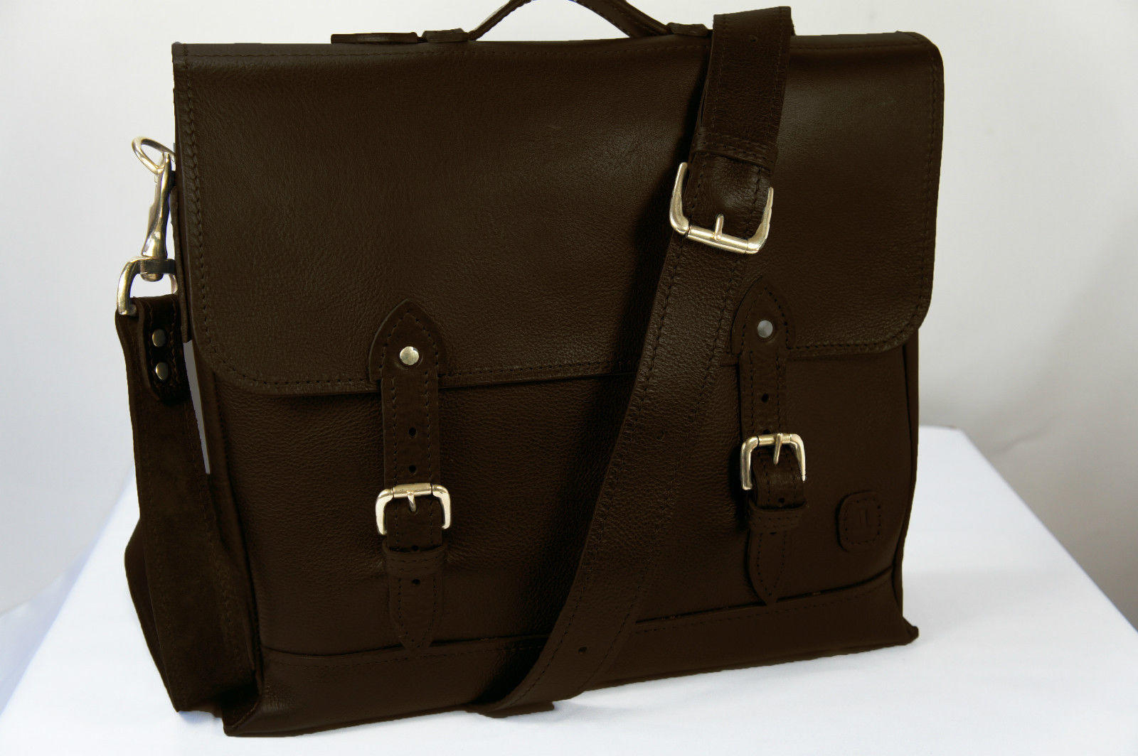 ISAMBARD Dundry Satchel In Soft Natural Veg Tanned Leather - Dar