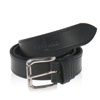 ISAMBARD Clifton 1 Pin Leather Belt in Black Natural Veg Tan Lea