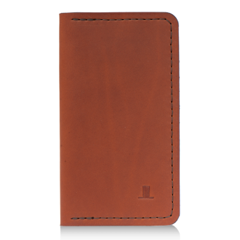 ISAMBARD Clifton Leather Tall Wallet, in Cognac Natural Veg Tan