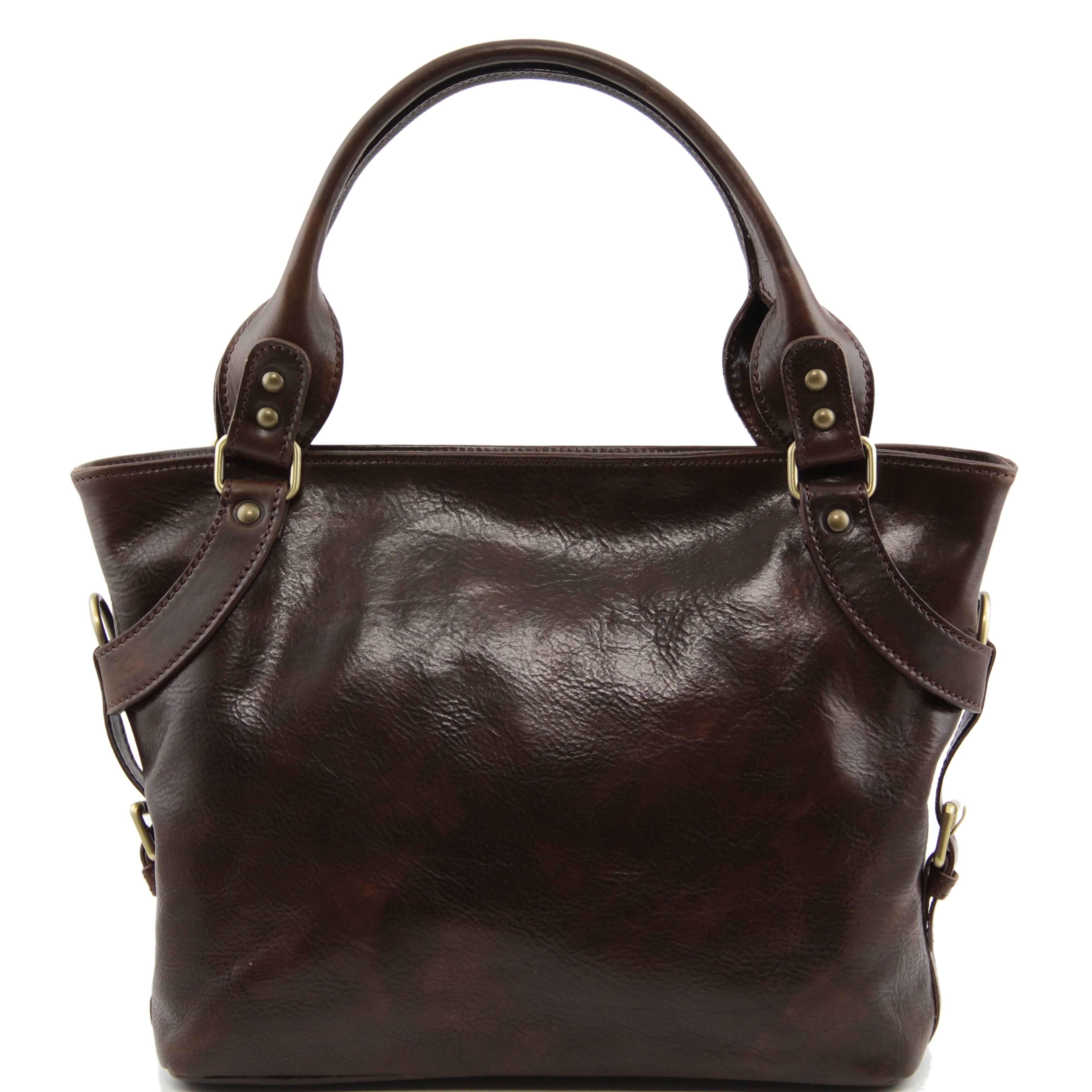 TL140899 Ladies - Womans Ilenia Leather Hand-Shoulder-Tote-Bag & Shoulder Strap - Dark Brown