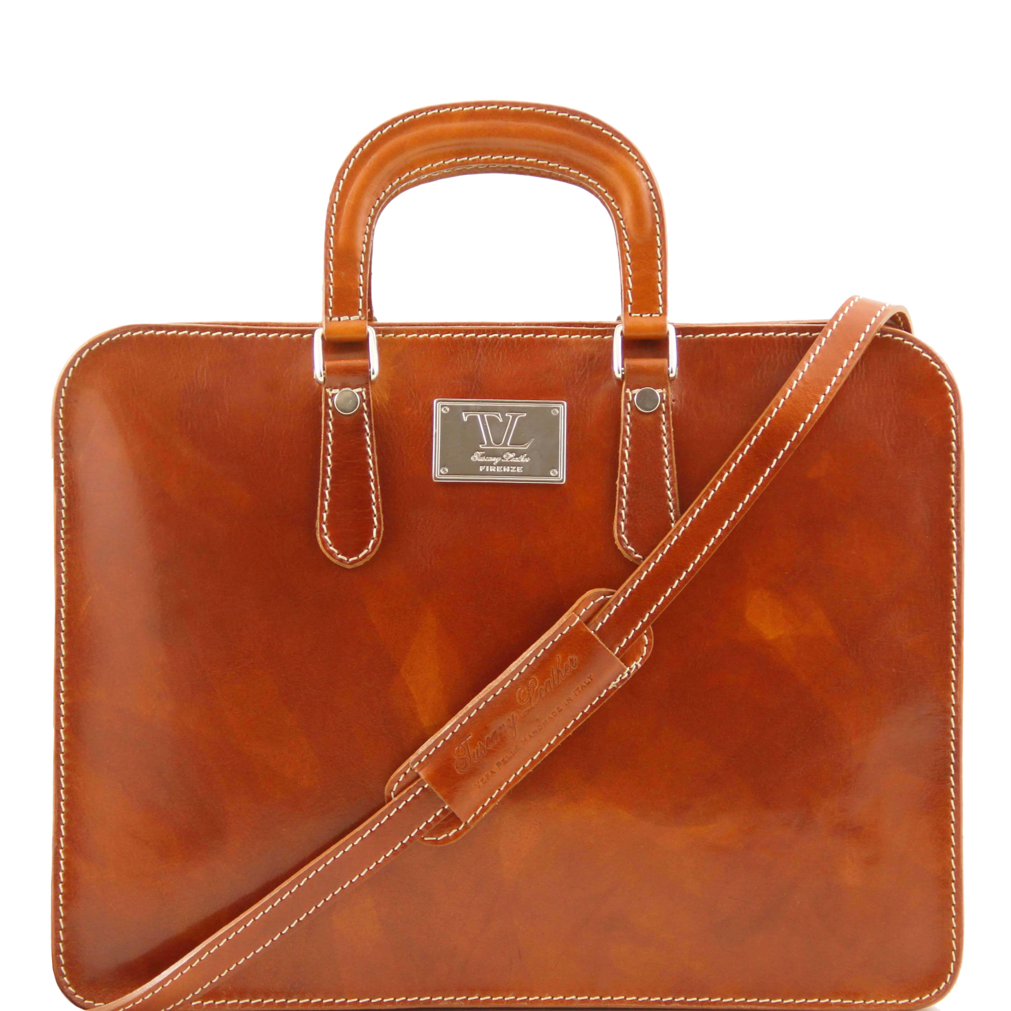 TL140961 Alba Ladies Leather 1 Compartment Briefcase-Folio-Shoulder Bag-Holdall Honey