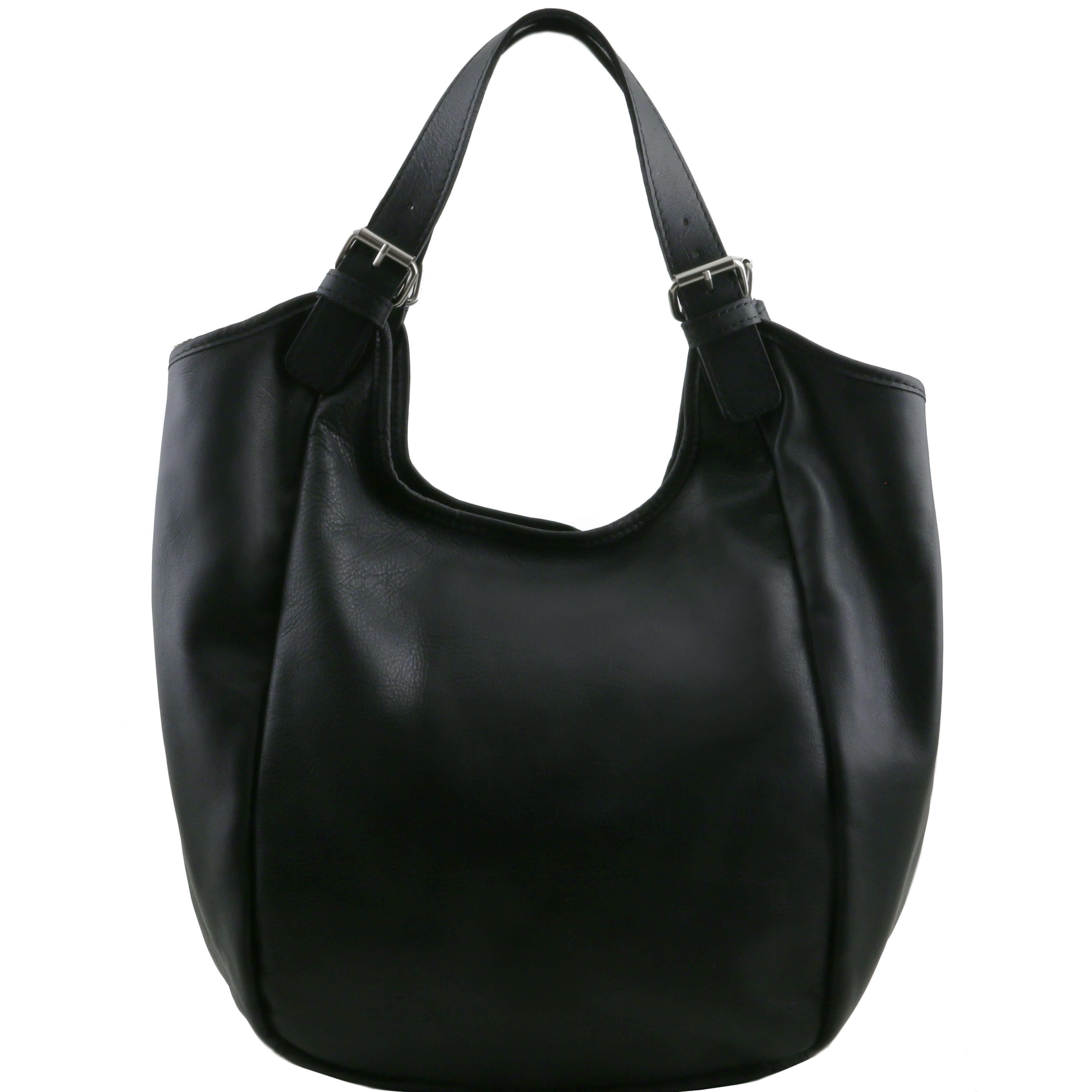 TL141357 Gina Classic Leather-Hand-Shoulder-Tote-Hobo-Bag Black