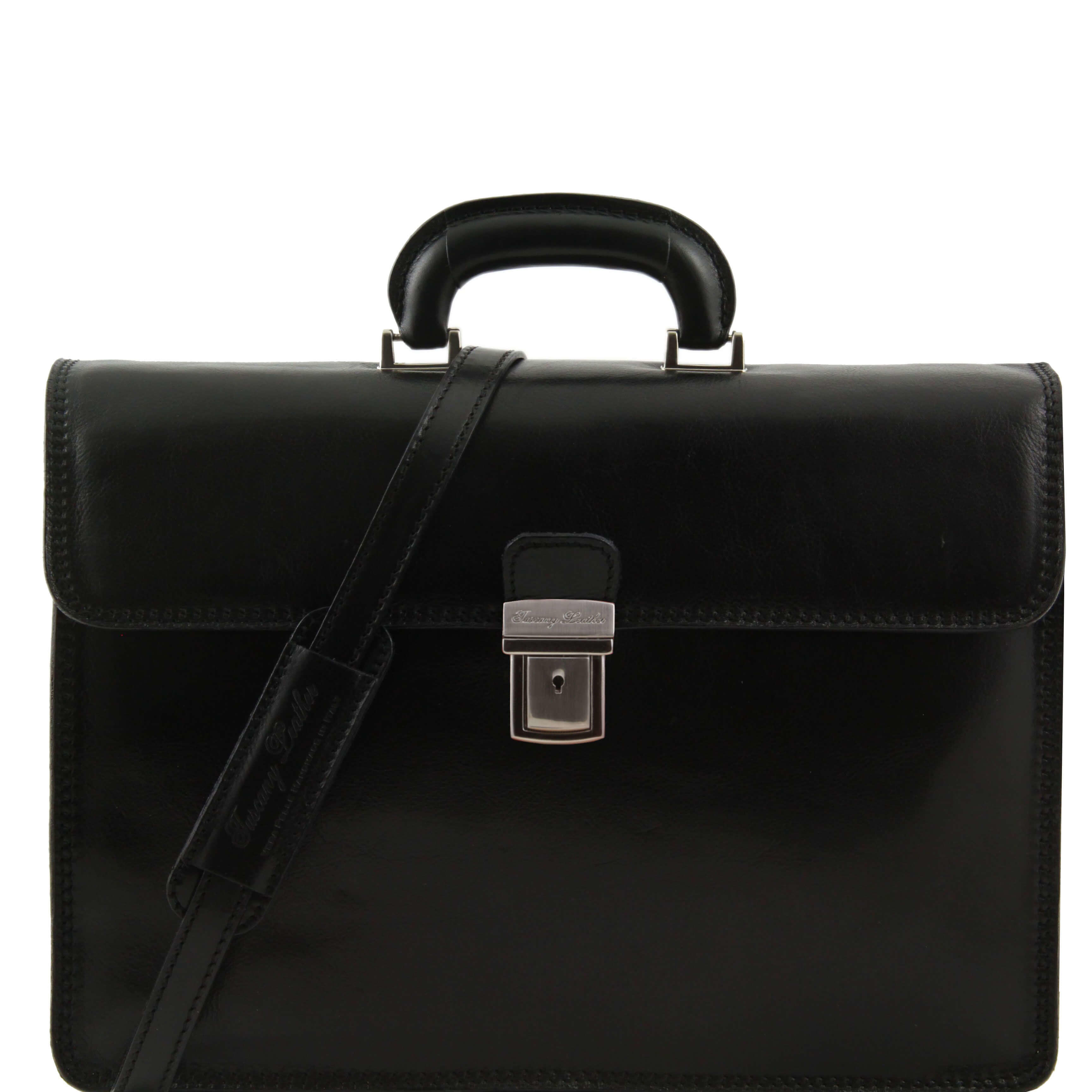 "TL10018 Parma Two Compartments Leather 15""Laptop-Briefcase-Bag & Shoulder Strap Black"