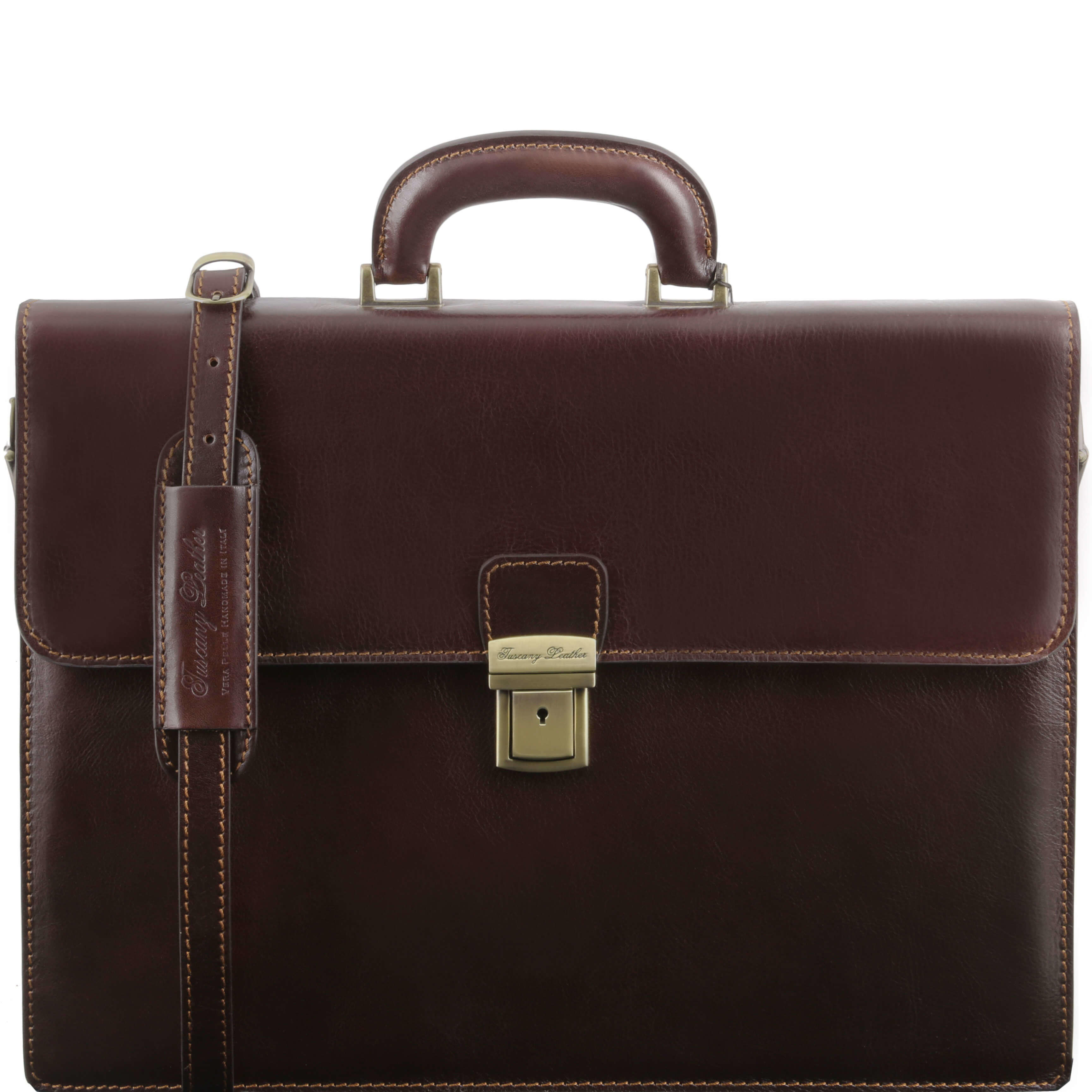 "TL141350 NEW Parma 2 Compartments Leather 15""Laptop-Briefcase-Bag & Shoulder Strap Dark Brown"