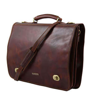 "TL10054 Large Siena Leather Messenger-Satchel-Briefcase-15"" Lapt"