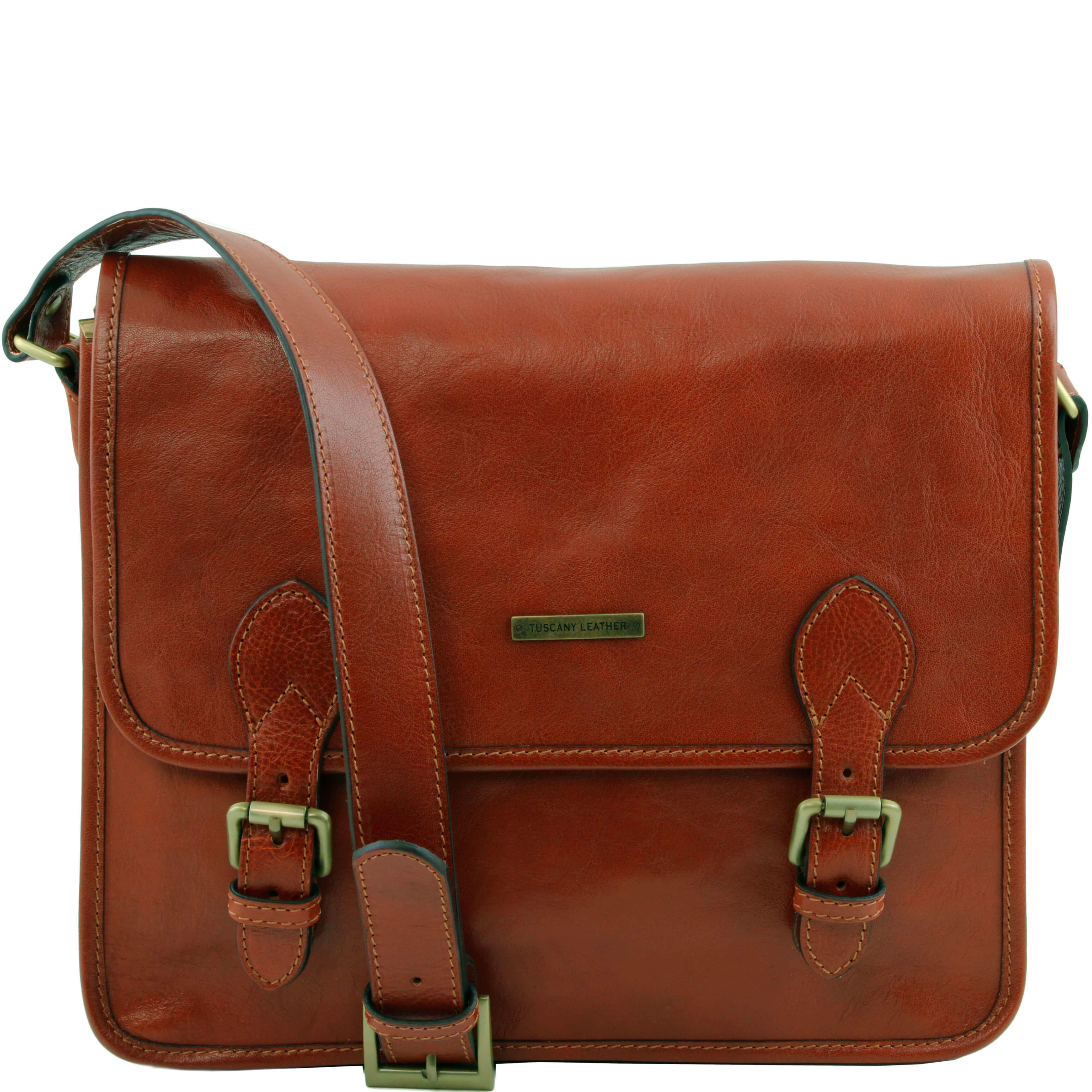 TL141288 Two Compartment Leather-Satchel- Messenger-Cross Body-S