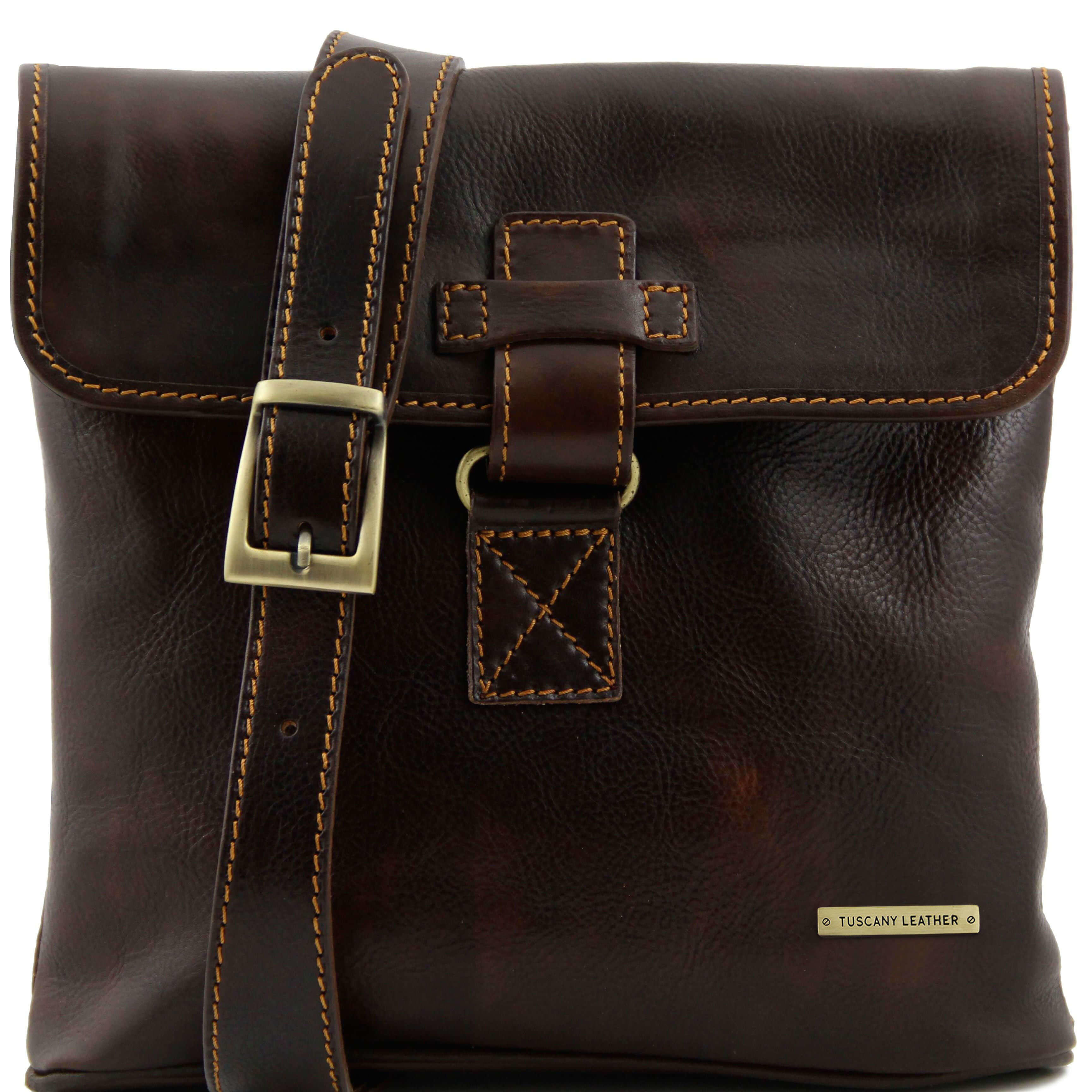 TL9087 3 Compartment Andrea Leather Messenger-Cross Body-Shoulde