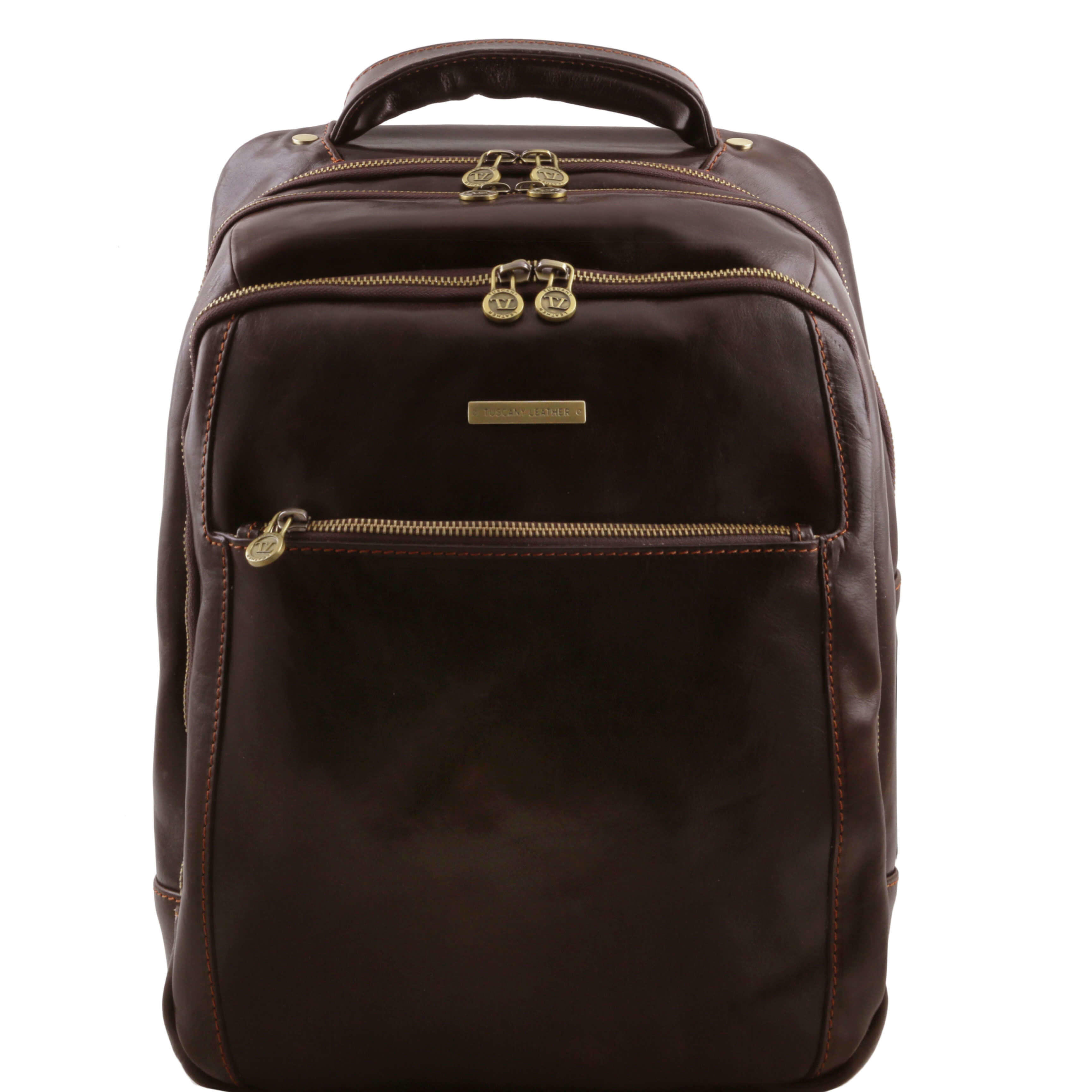 TL141402 Phuket Leather Backpack-Rucksack-Holdall-Bag 3 Compartments in Dark Brown