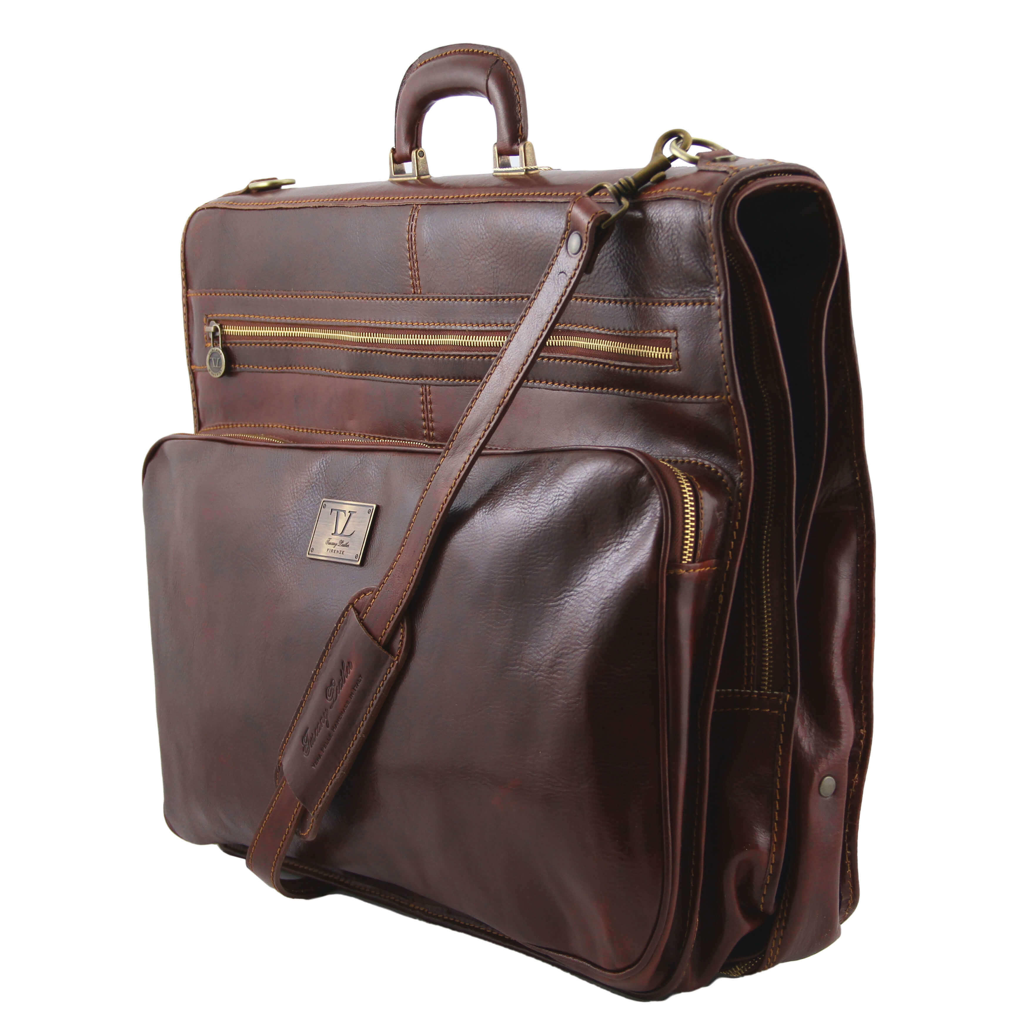 TL3056 Papeete Leather Suit - Garment Carrier Travel Bag Holdall
