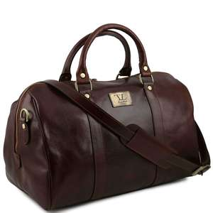 TL141250 Voyager Leather Holdall-Travel-Luggage-Duffel Bag-Case
