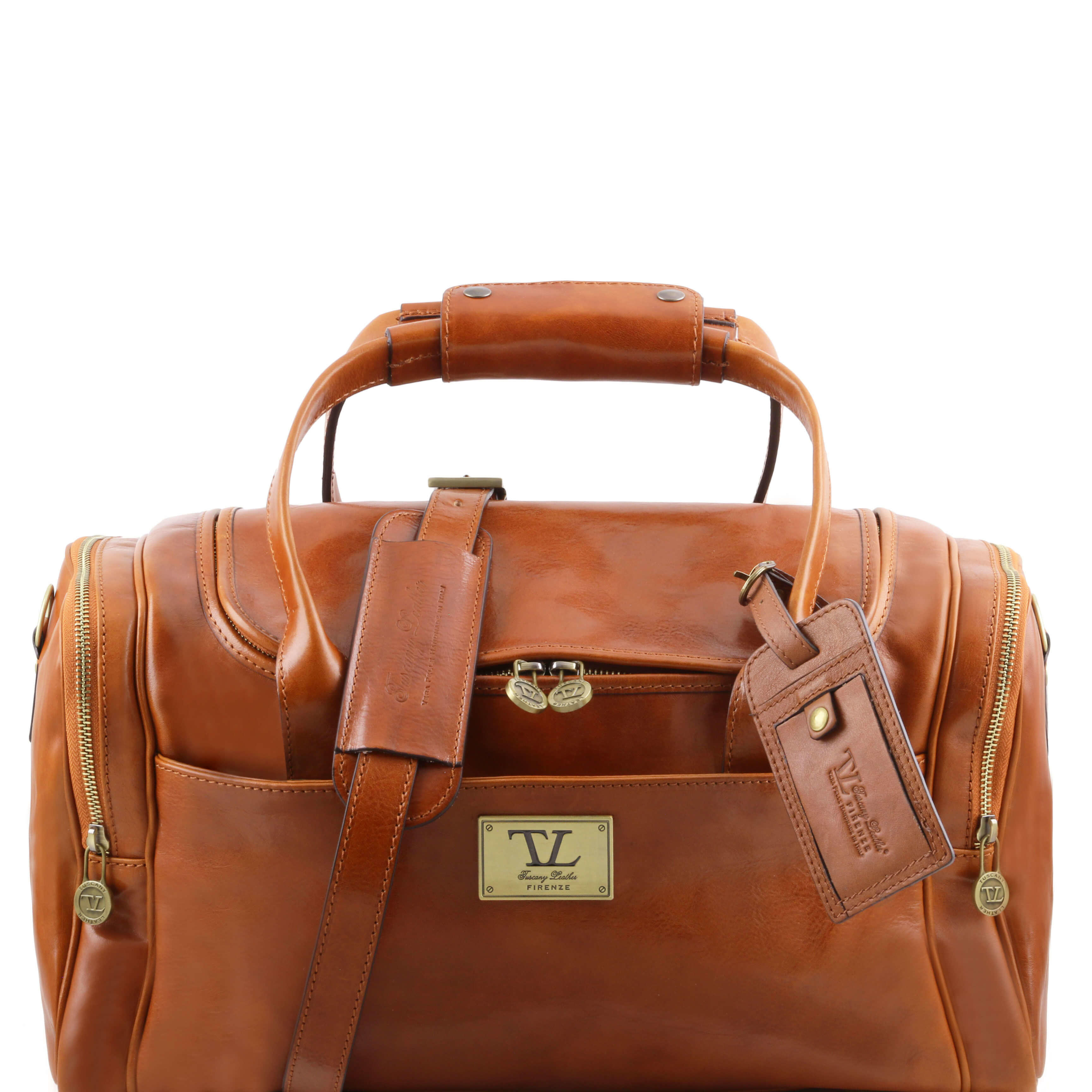 TL141441 Voyager Leather Travel-Weekender-Duffel-Bag-Case&Shoulder  Strap in Honey