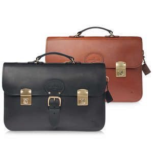 ISAMBARD Clifton Briefcase In Finest English Natural Veg Tanned Leather