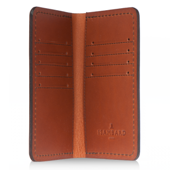ISAMBARD Clifton Leather Tall Wallet, in Cognac Natural Veg Tan Leather