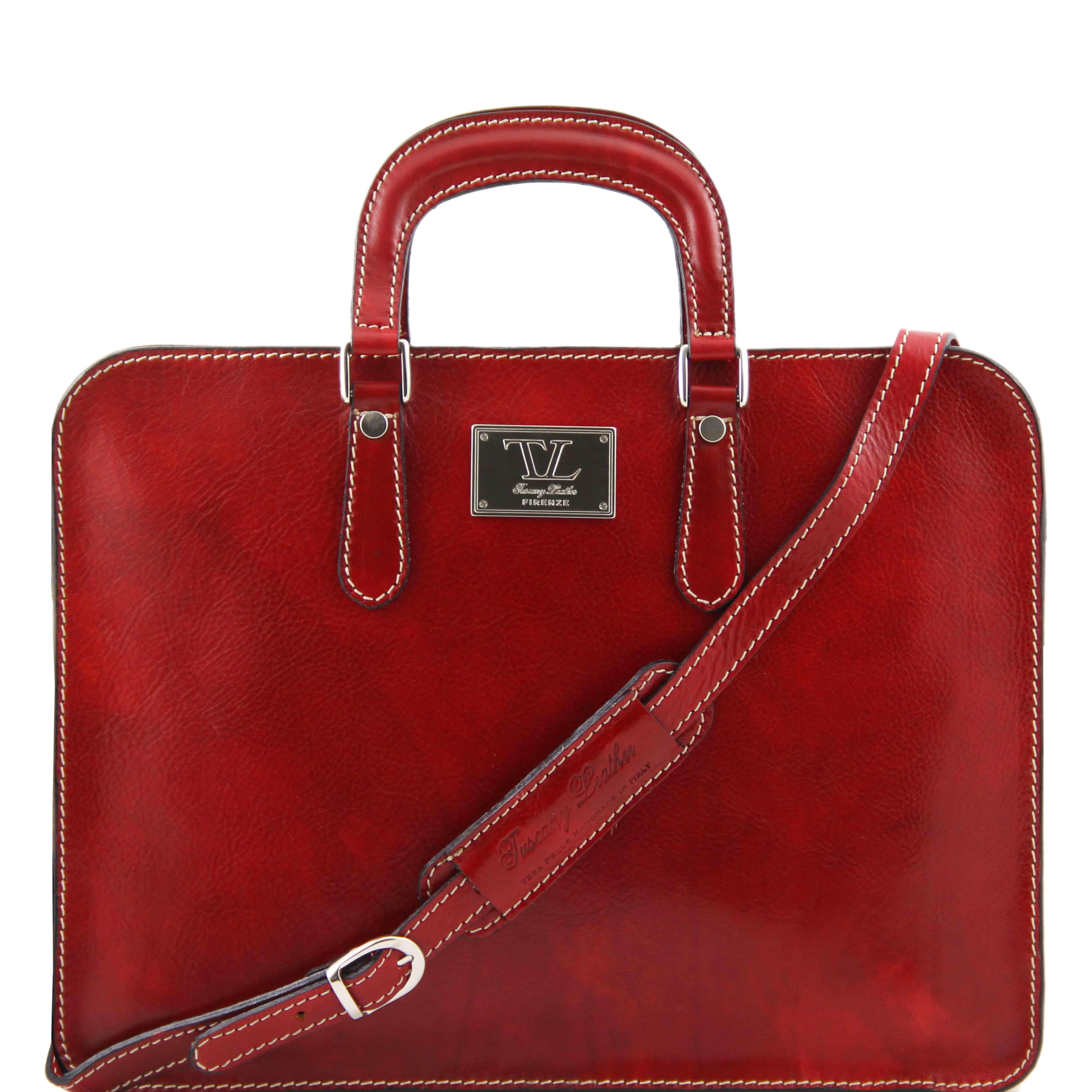 TL140961 Alba Ladies Leather 1 Compartment Briefcase-Folio-Shoulder Bag-Holdall Red