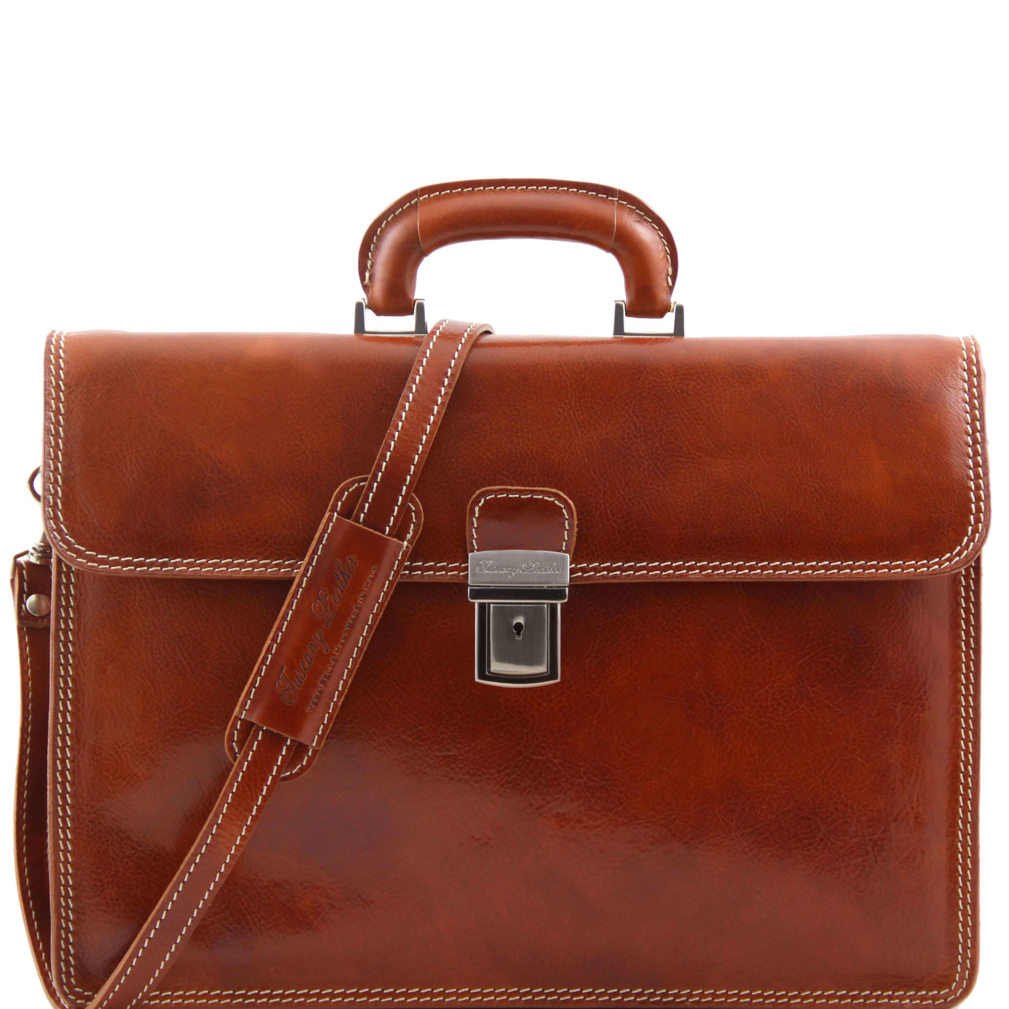 "TL10018 Parma Two Compartments Leather 15""Laptop-Briefcase-Bag & Shoulder Strap Honey"