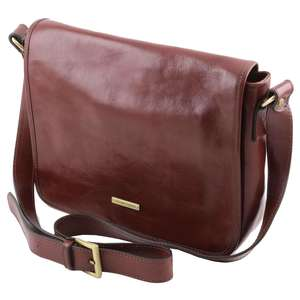 TL141301 One Compartment Leather Messenger - Cross Body - Should
