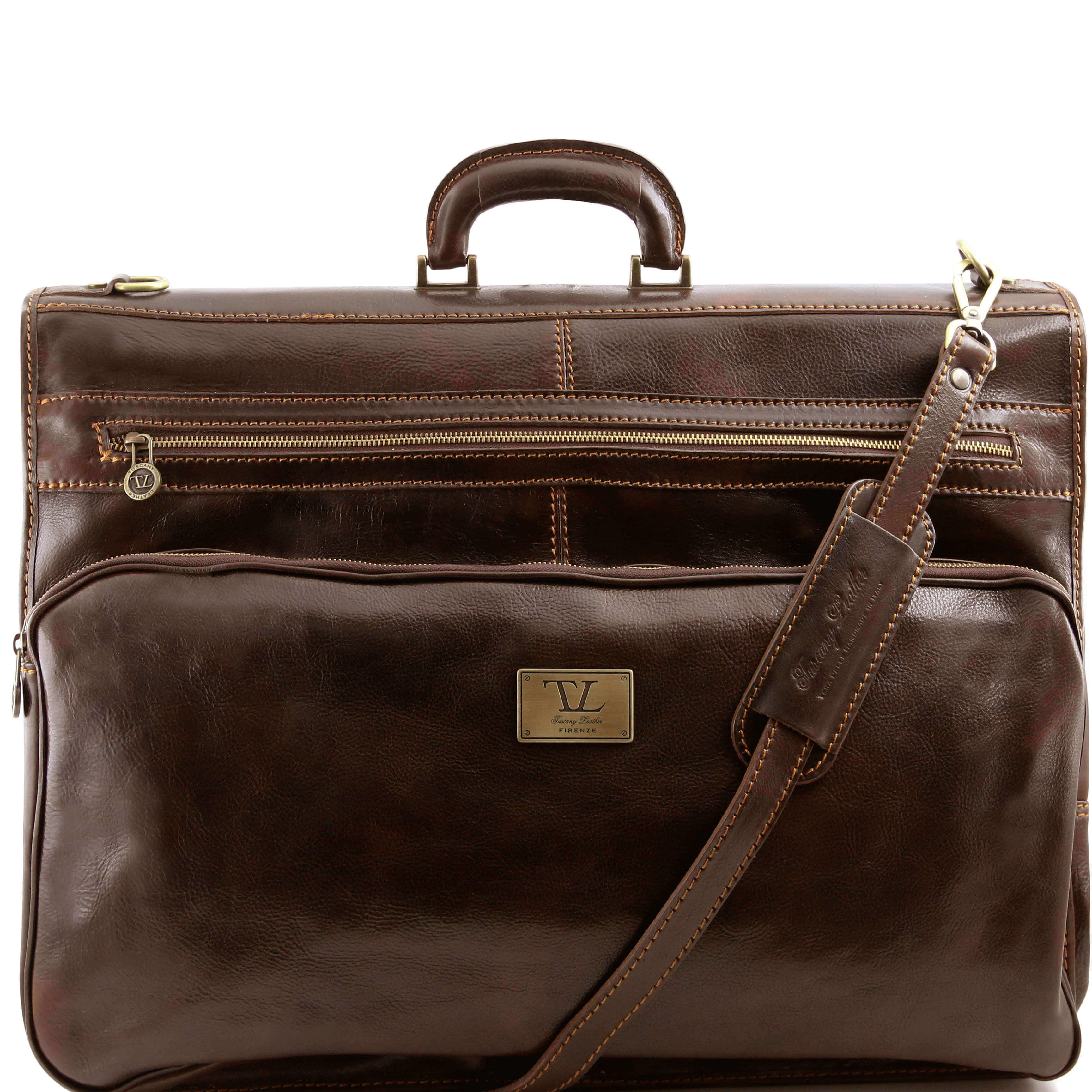 TL3056 Papeete Leather Suit - Garment Carrier Travel Bag Holdall - Dark Brown
