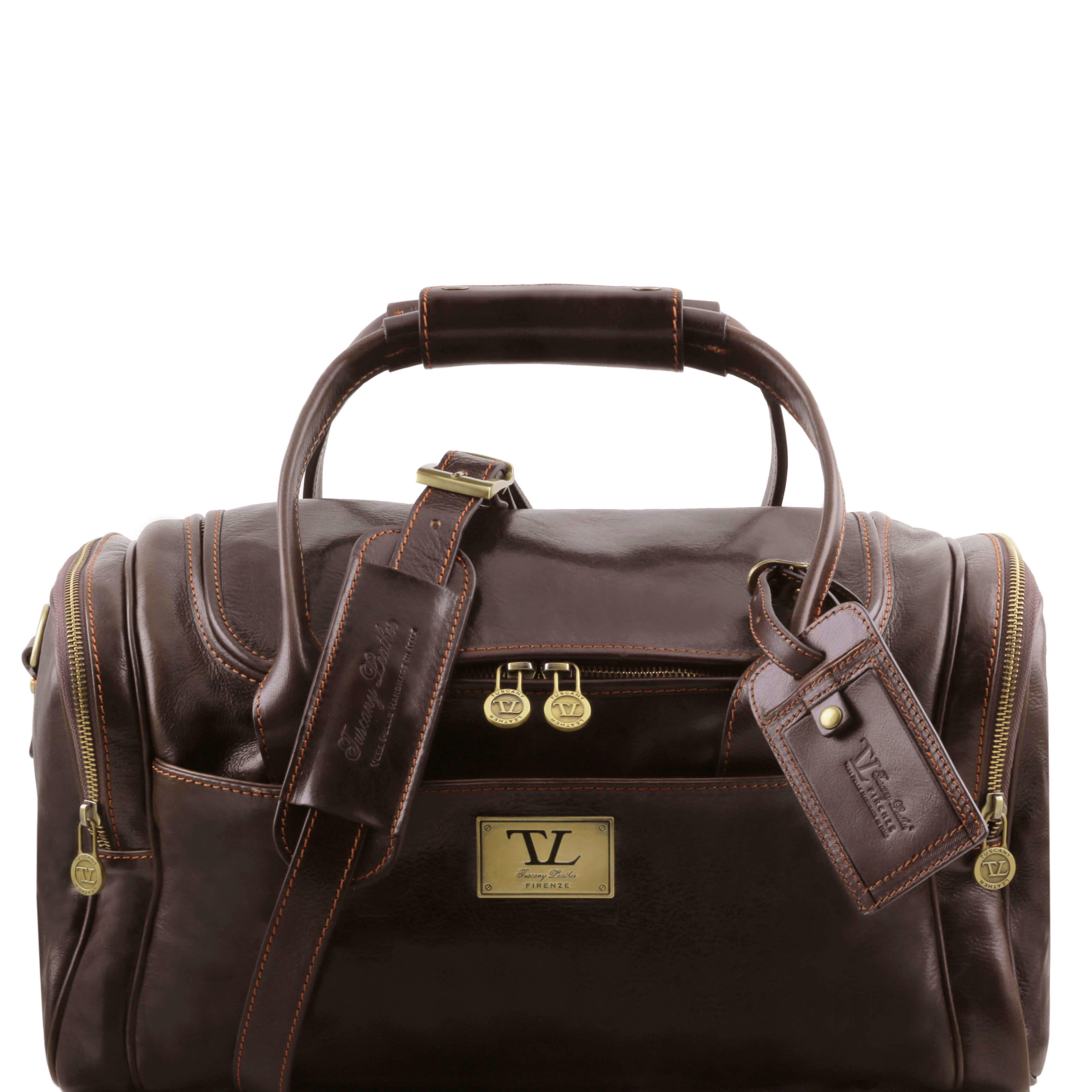TL141441 Voyager Leather Travel-Weekender-Duffel-Bag-Case&Shoulder  Strap in Dark Brown