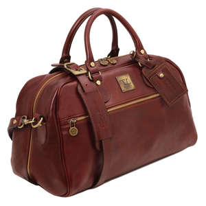TL141405 Leather Voyager Holdall-Travel-Luggage-Duffel Bag-Case & Shoulder Strap Choice Of Colours
