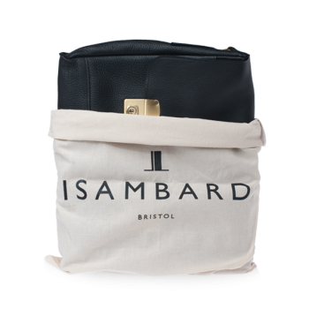 ISAMBARD Clifton Padded Laptop Satchel In Black Soft Natural Lea