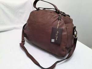 Outlet - TL141149 Sporty Leather Mini Travel Bag-Overnight-Luggage-Gym-Duffel-Business Bag In Dark Taupe