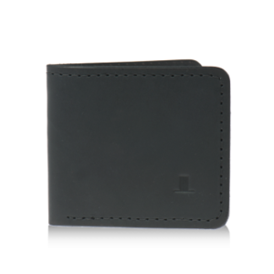 ISAMBARD Clifton Bi - Fold Wallet, in Black Natural Veg Tan Leat