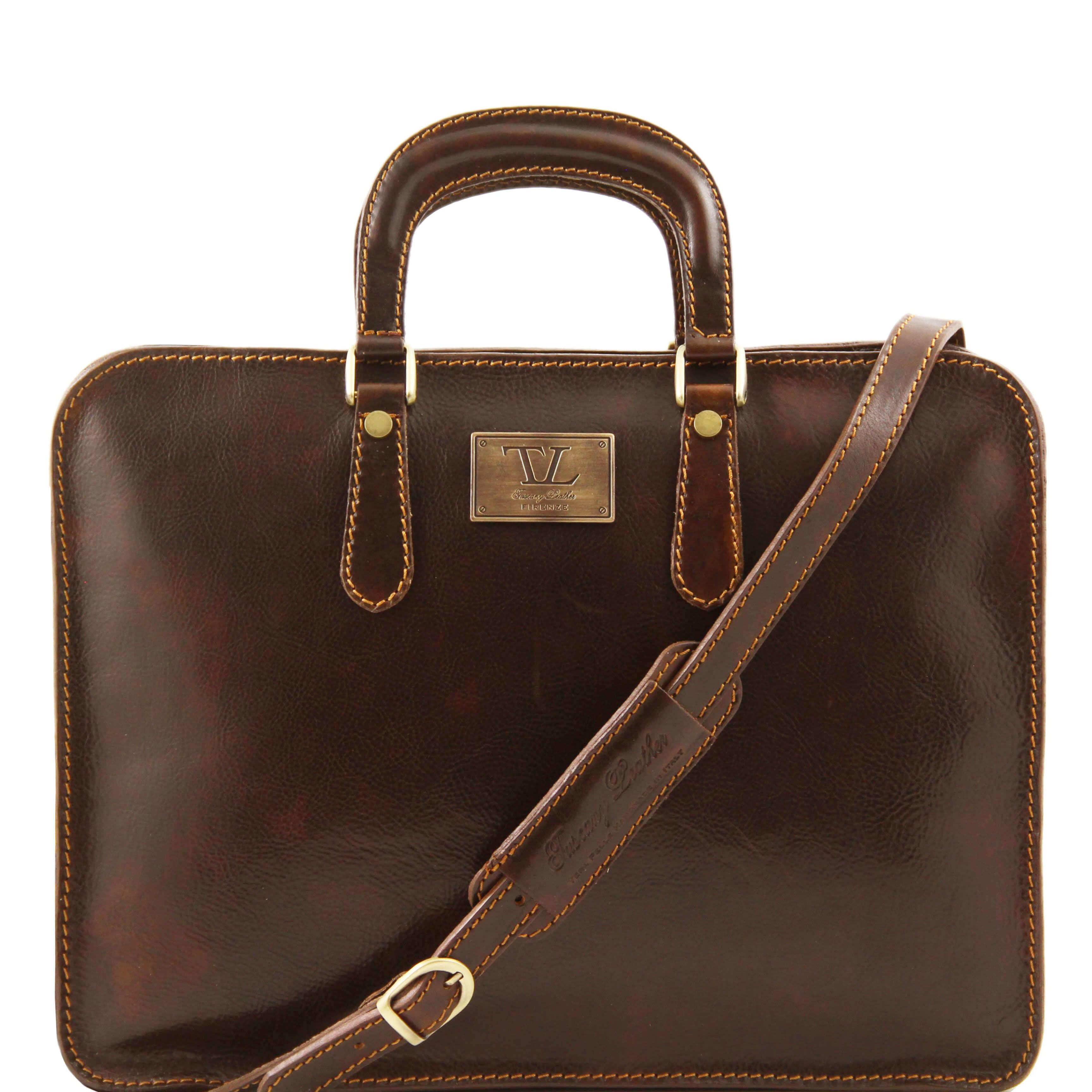 TL140961 Alba Ladies Leather 1 Compartment Briefcase-Folio-Shoulder Bag-Holdall Dark Brown
