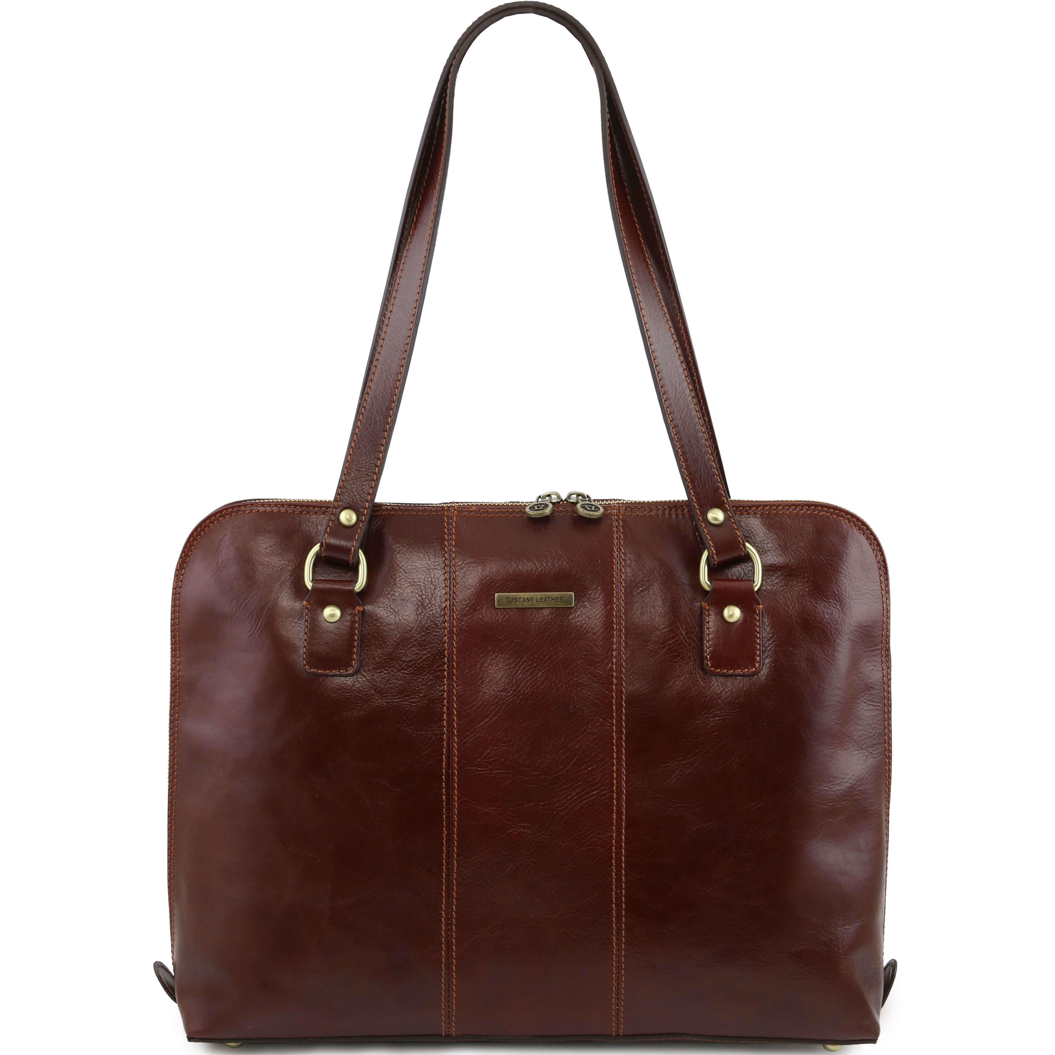 "TL141277 Ravenna Leather 15.6"" Laptop Bag-Case-Briefcase-Shoulder Bag Brown"