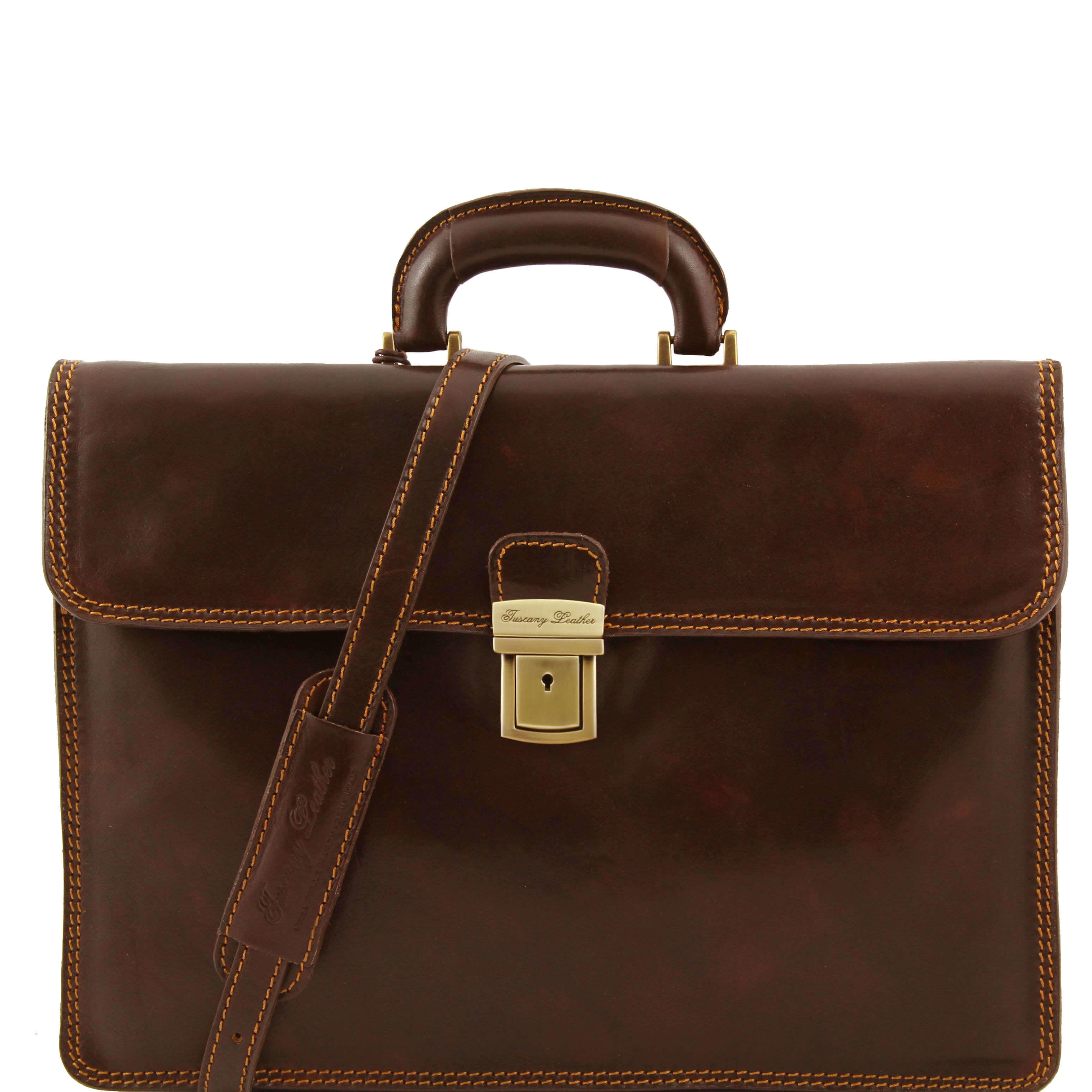 "TL10018 Parma Two Compartments Leather 15""Laptop-Briefcase-Bag & Shoulder Strap Dark Brown"