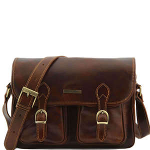 TL10180 Large San Marino Leather Messenger-Satchel-Briefcase-Lug
