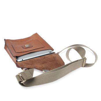 ##Outlet##-ISAMBARD Clifton Messenger / Cross Body Bag In Soft Tumbled Natural Leather
