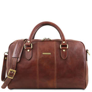 TL141658 Lisbona Small Size Leather Travel-Luggage-Duffel-Bag & Shoulder Strap