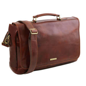 "Tuscany Leather TL141450 Mantova 15.6"" Laptop Case-Bag-Messenger-Satchel+Shoulder Strap"