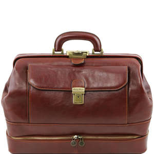 TL141297 Giotto Large Leather Doctors Bag-Case-Holdall-Double -