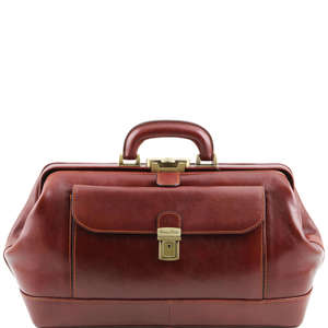 TL141298 Bernini Leather Doctors Bag - Holds iPad's etc - Brown