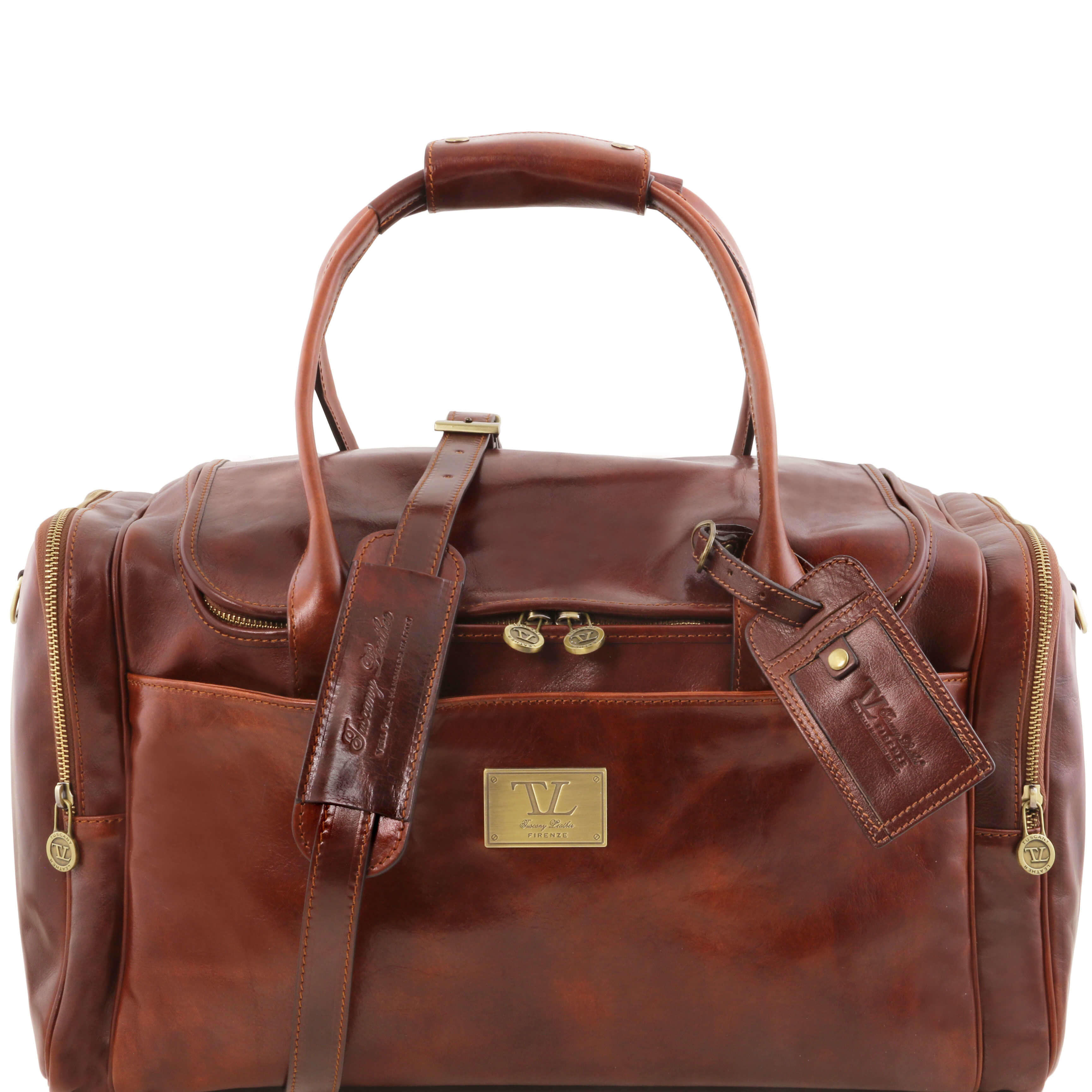 TL141296 Voyager Leather Holdall-Travel-Luggage-Duffel Bag-Case
