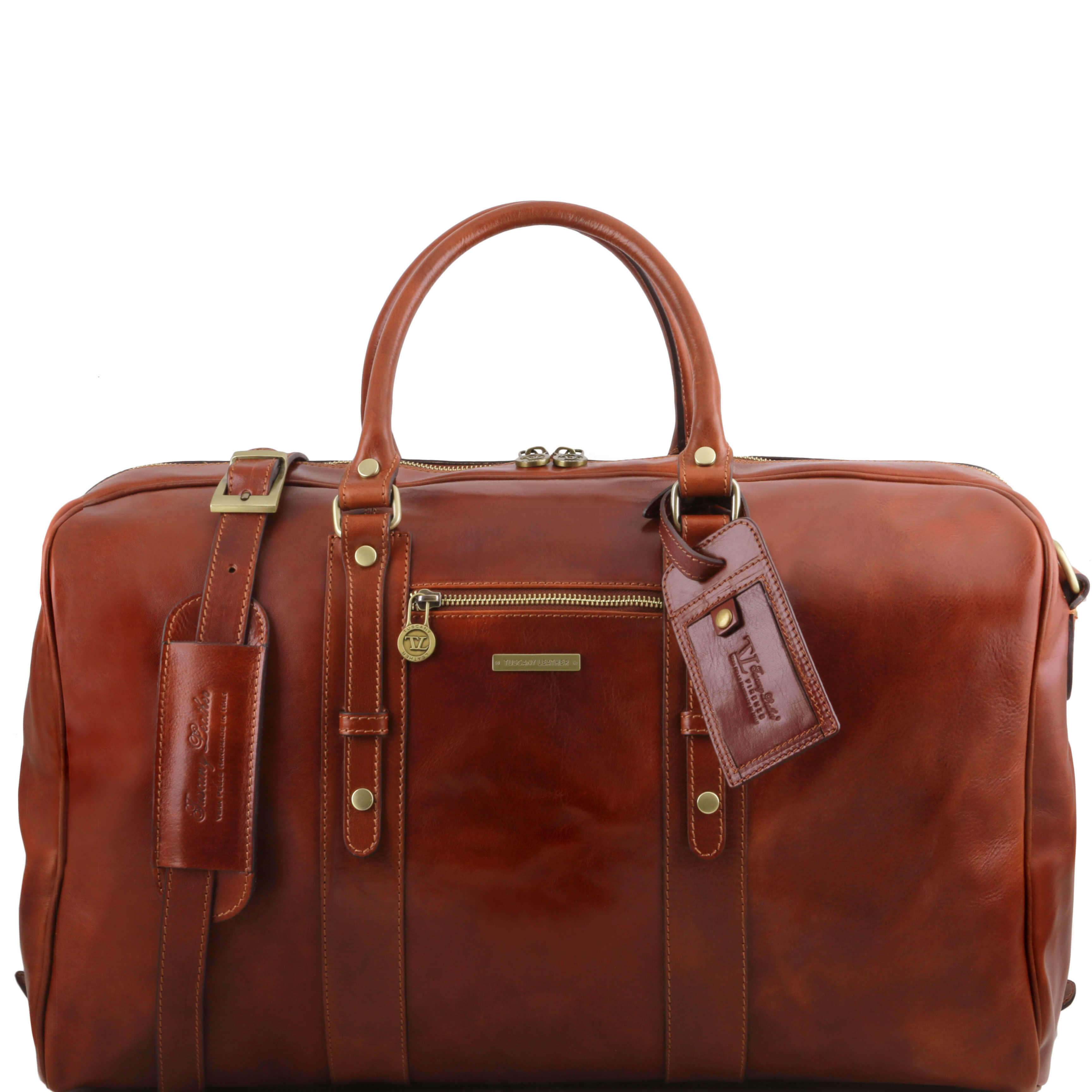 TL141401 Leather Voyager Travel-Luggage-Duffel-Bag-Holdall Case & Shoulder Strap In Brown