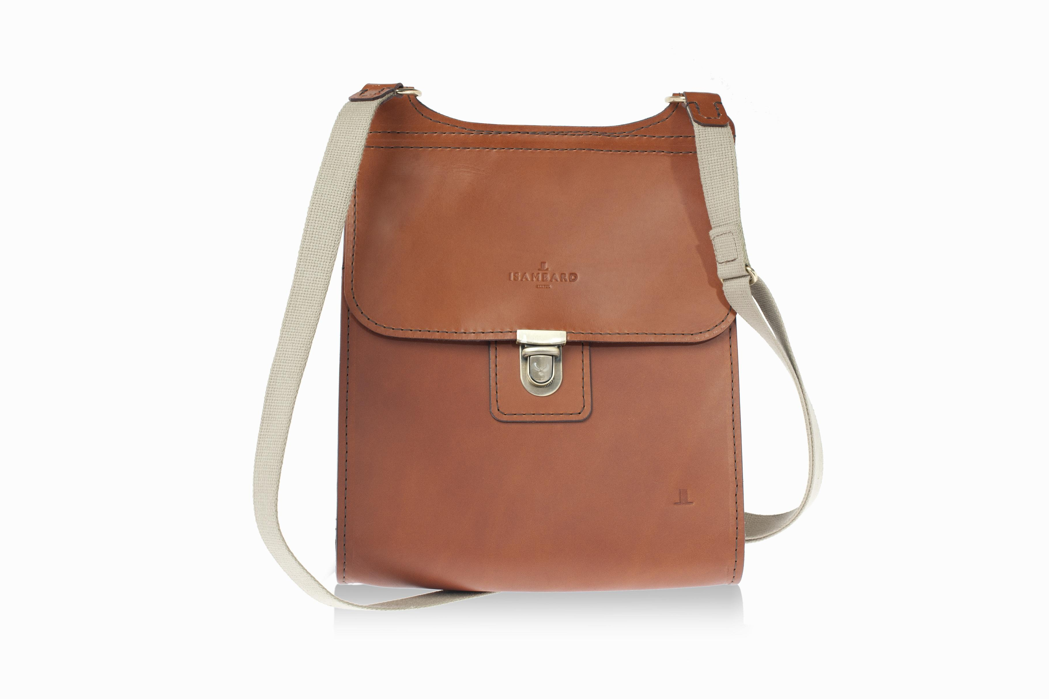 ISAMBARD Large Clifton Messenger - Saddle Bag In Cognac Natural