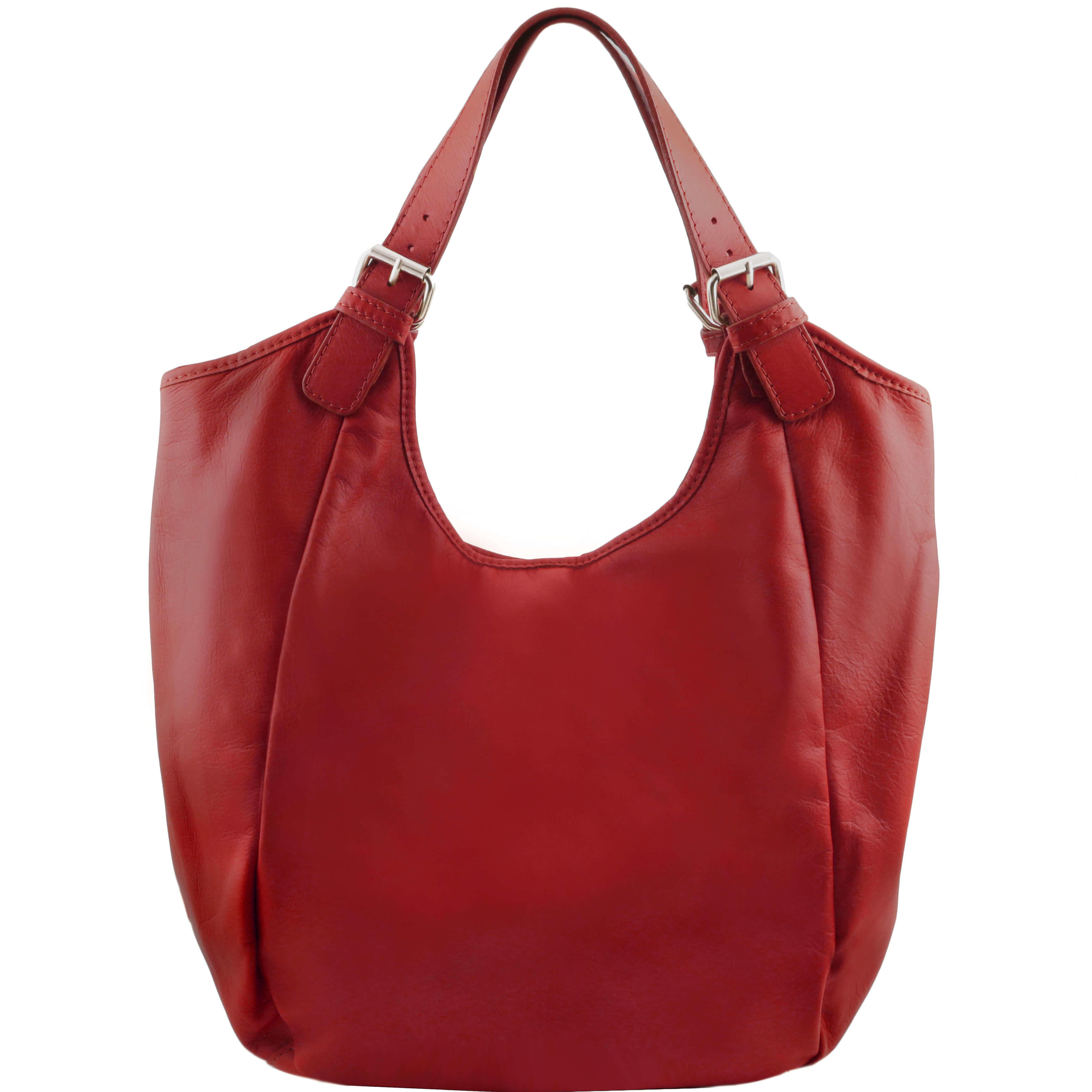 TL141357 Gina Classic Leather-Hand-Shoulder-Tote-Hobo-Bag Red