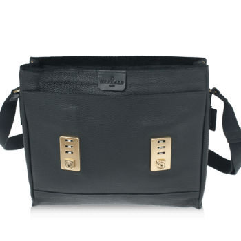 ISAMBARD Clifton Padded Laptop Satchel In Black Soft Natural Leather -