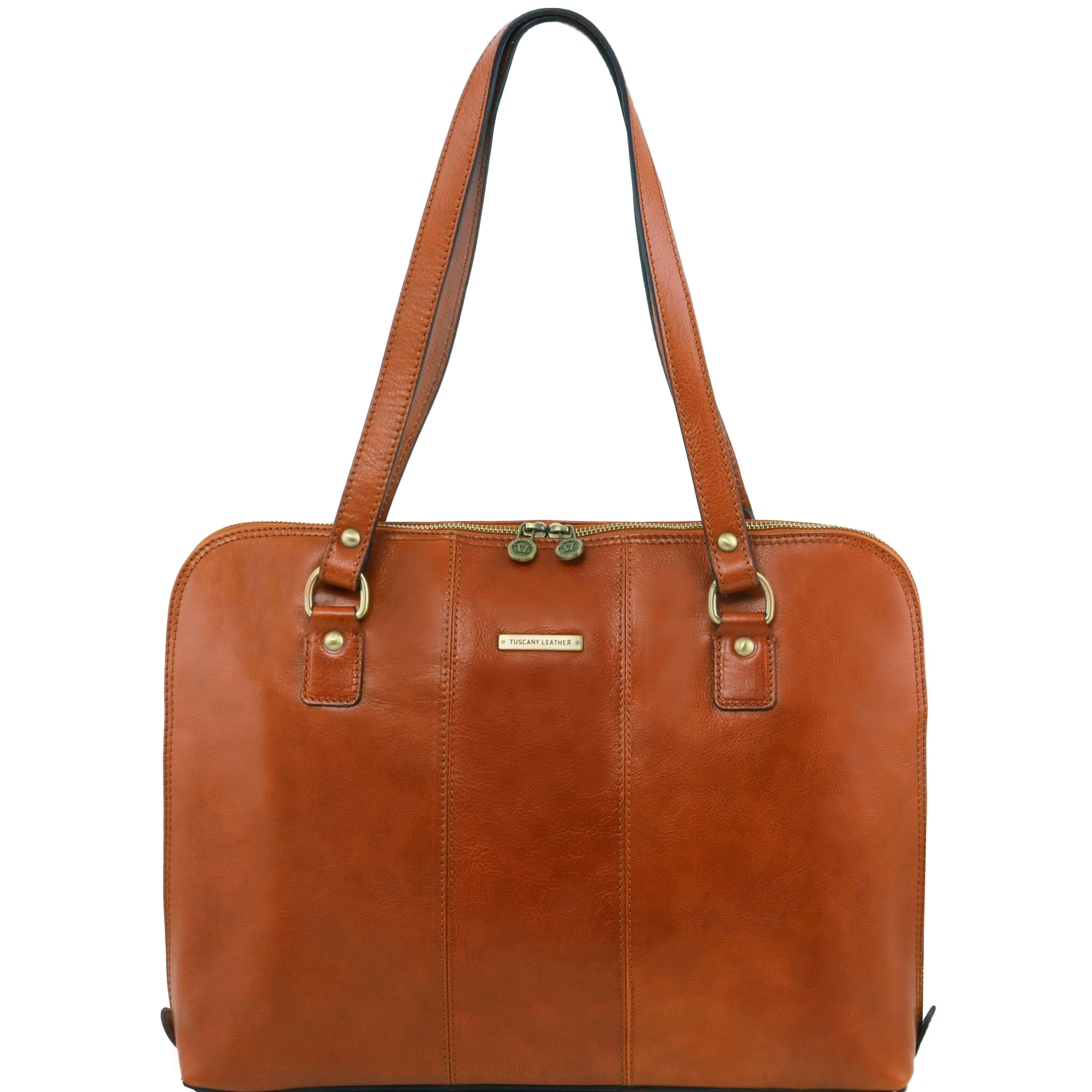 "TL141277 Ravenna Leather 15.6"" Laptop Bag-Case-Briefcase-Shoulder Bag In Honey"